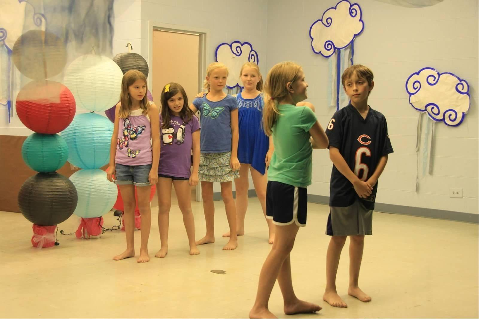 "Pictured during a rehearsal of ""Finding Nemo"" are: Front: Meghan Kalsch and Alex Lasky; back: Ella Orlando, Libby Ferraro, Emily Burger and Jordan DuShane."