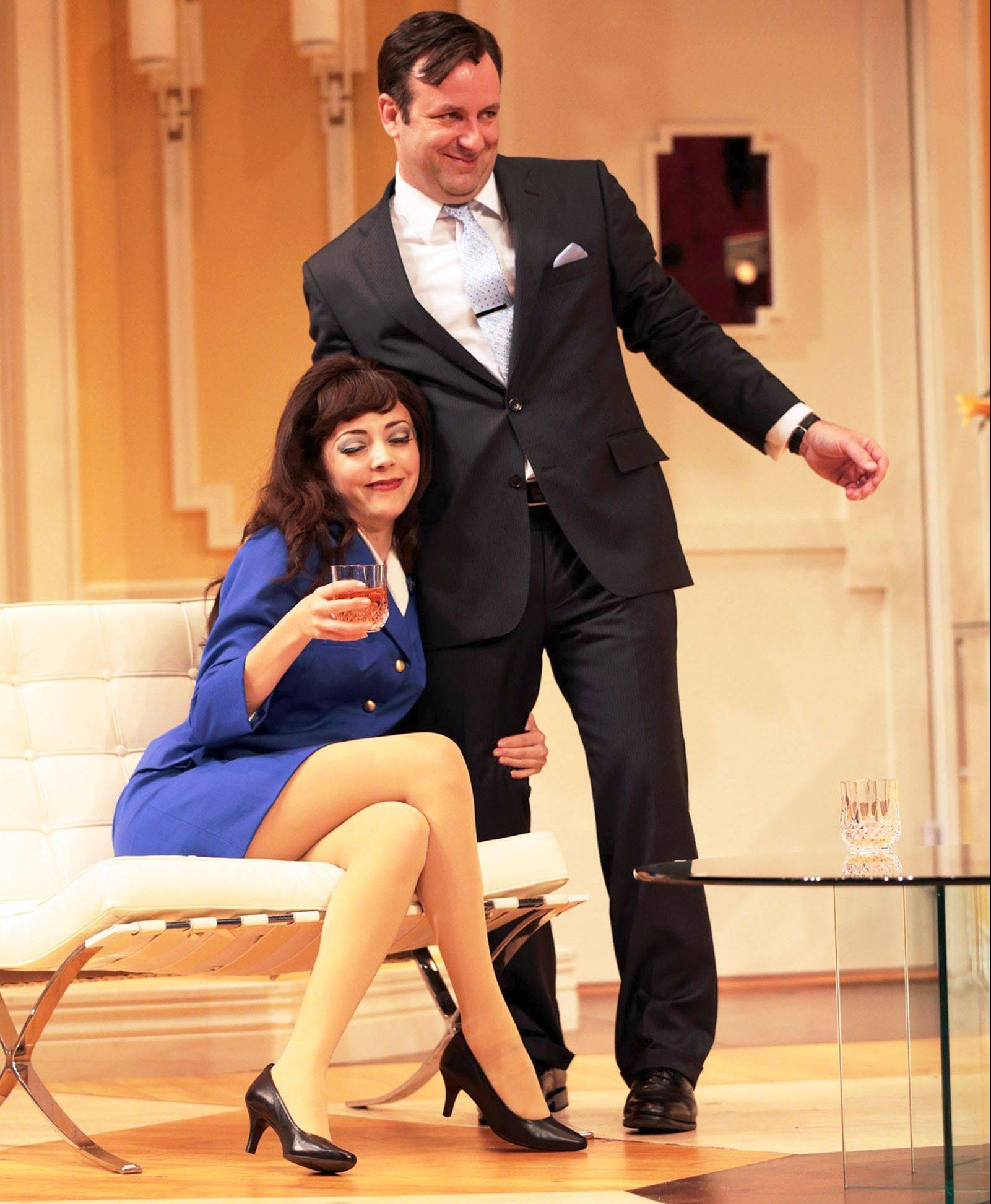 "Alitalia airline hostess Gabriella (Dina DiCostanzo) lays claim to her fiance, Stef Tovar's commitment-averse Bernard, in ""Boeing-Boeing,"" a 1960s French farce running through Aug. 4 at Drury Lane Theatre in Oakbrook Terrace."