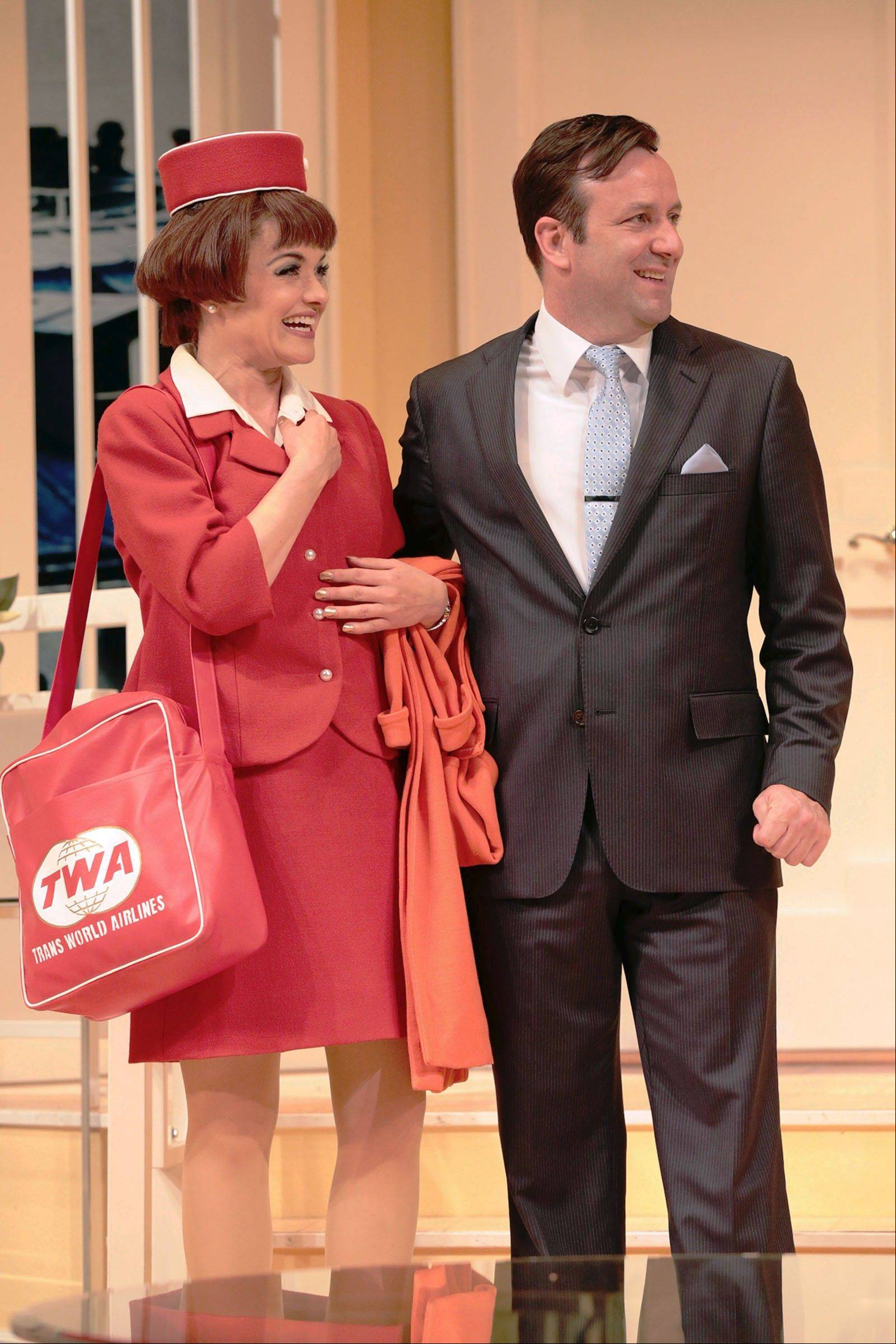 "Stef Tovar plays bachelor Bernard who has three flight attendant fiances, including Gloria (Kara Zediker), in Drury Lane Theatre's revival of Marc Camoletti's highflying 1962 farce, ""Boeing-Boeing."""