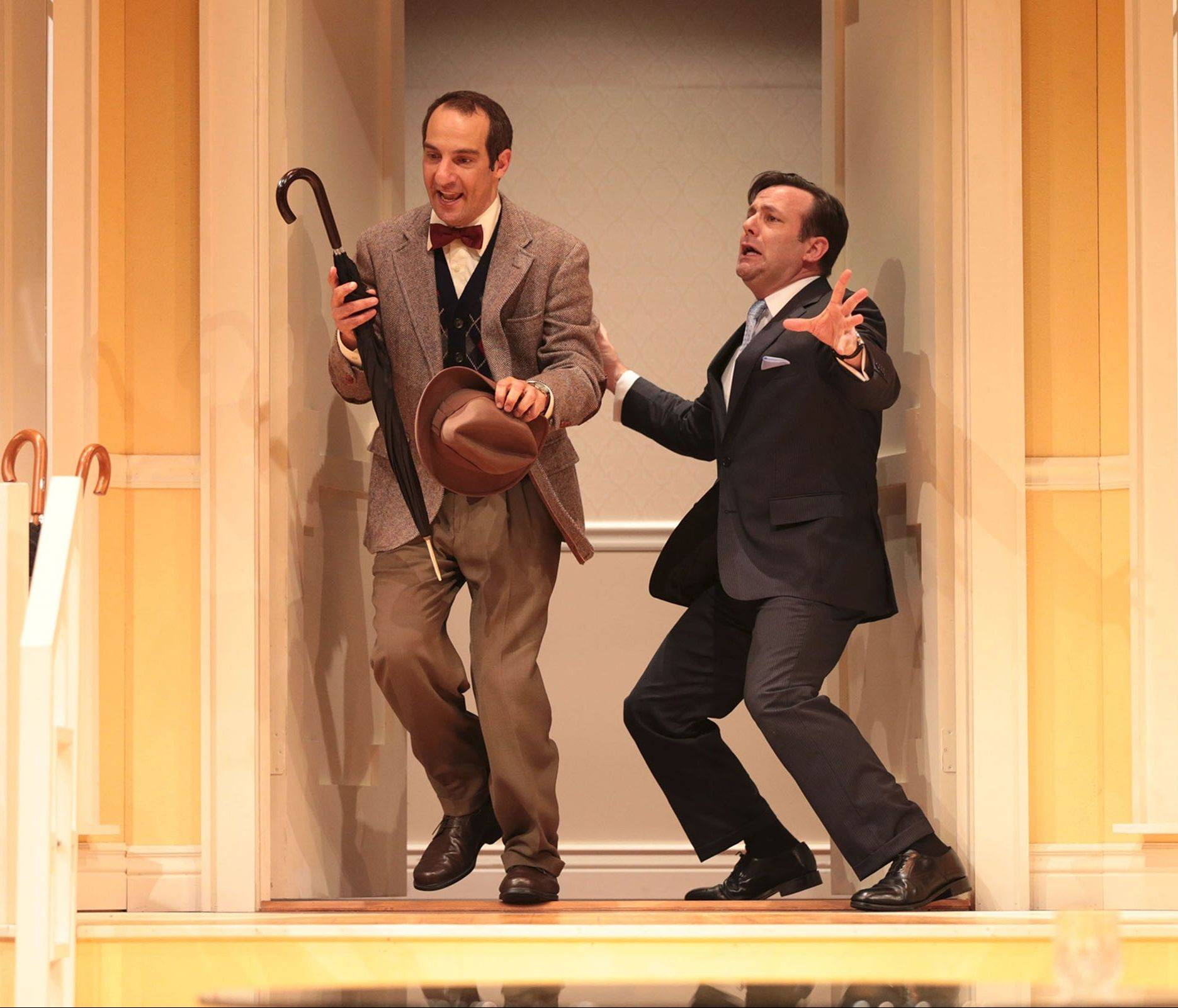 "Top-flight comic actors Dan Cantor, left, and Stef Tovar co-star in Drury Lane Theatre's ""Boeing-Boeing,"" a 1962 French farce piloted by director Dennis Zacek."