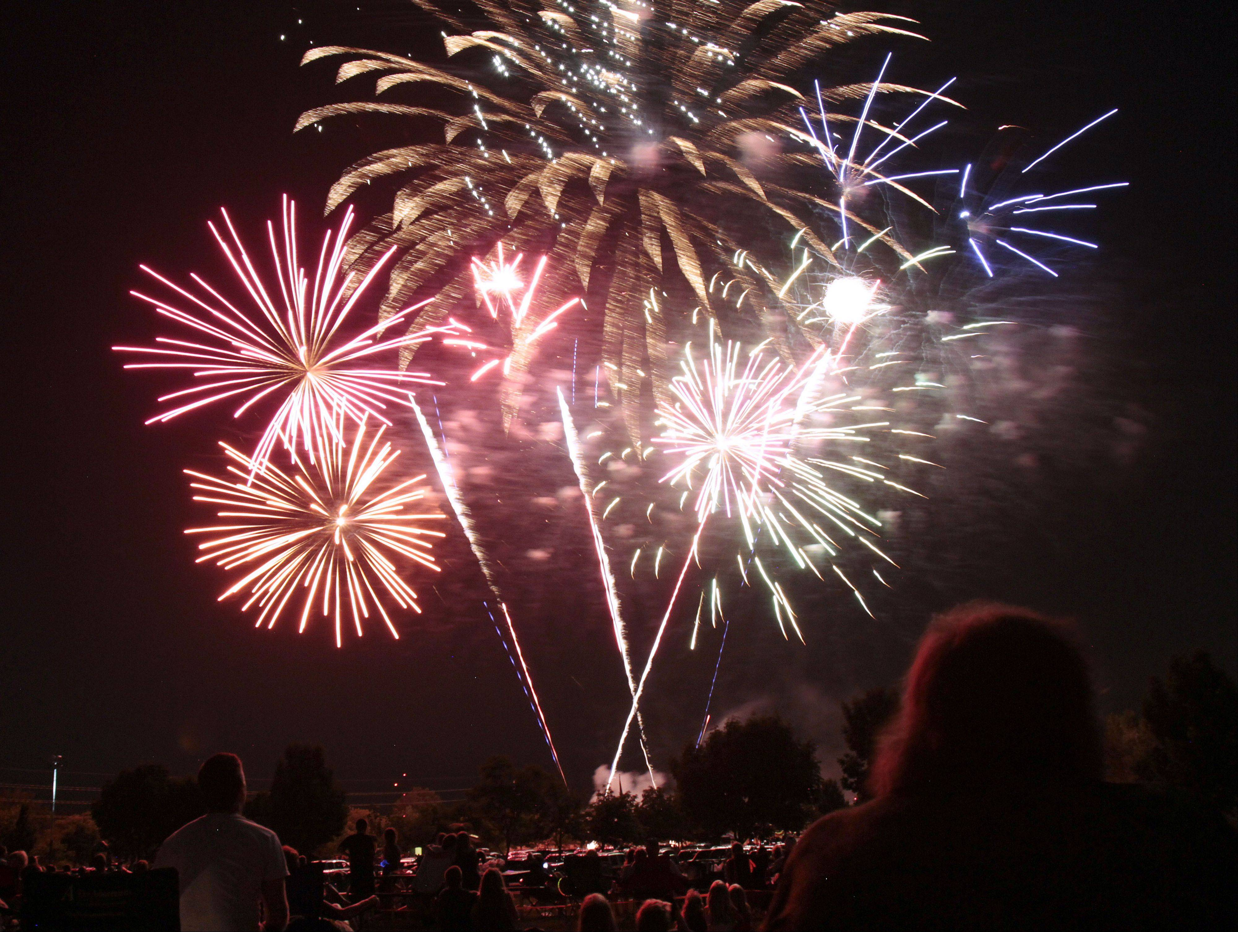 Hawthorn Woods showcases its fireworks at dusk Wednesday, July 3, at Hawthorn Woods Community Park.
