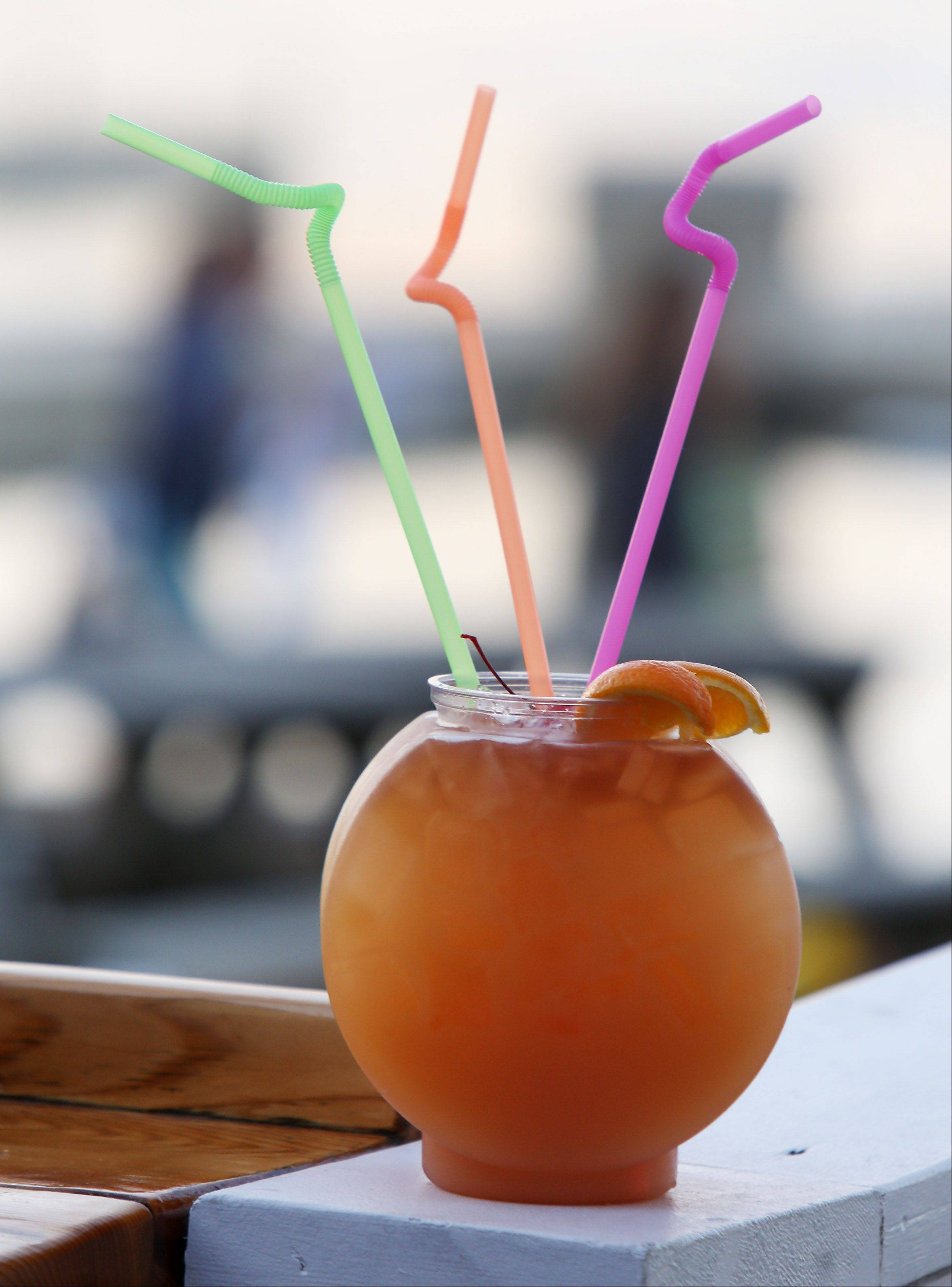 The mai tai fishbowl seems a perfect drink for enjoying the water views at Lindy's Landing in Wauconda.
