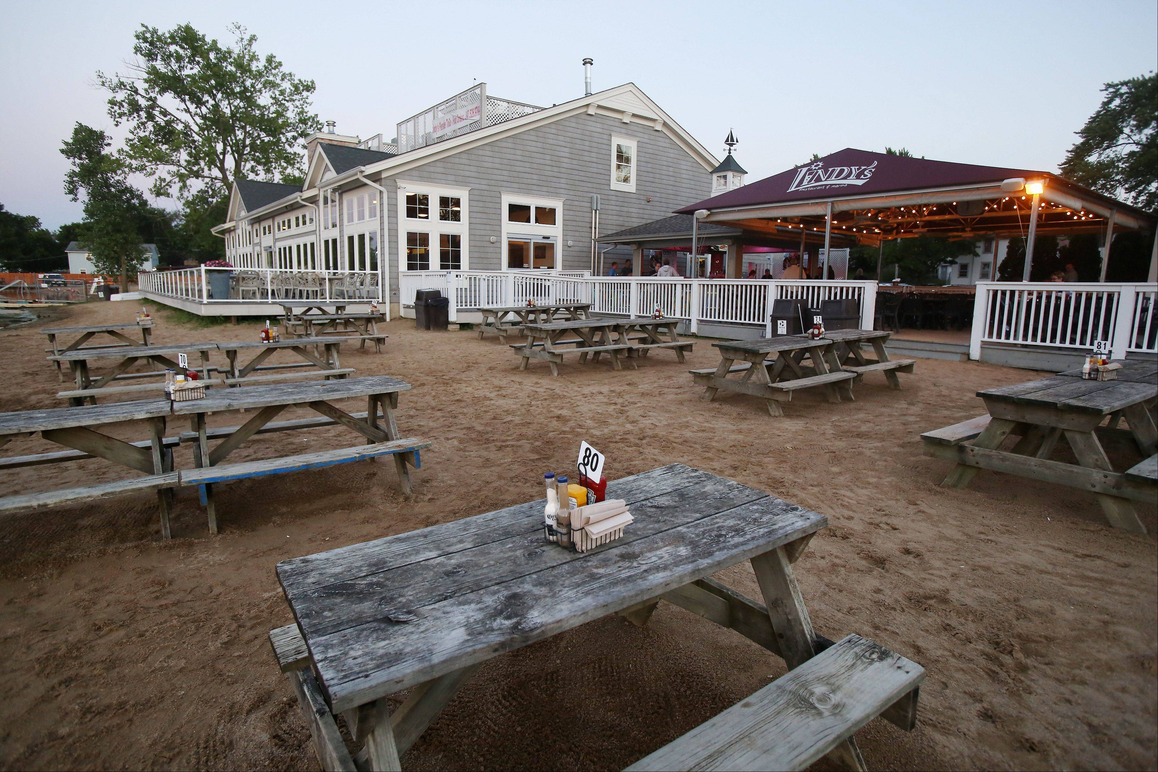 The beach area at Lindy's Landing in Wauconda is a casual, sandy spot for dinner and drinks.