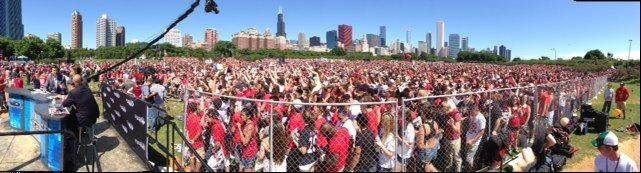 A panoramic view of the thousands of fans waiting for the Blackhawks to show up at Grant Park in Chicago.