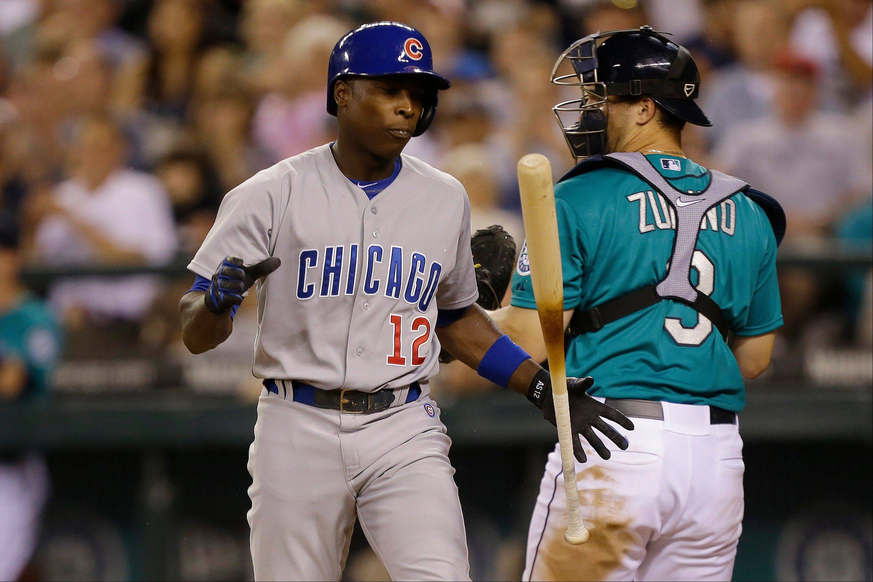 Alfonso Soriano strikes out in the eighth inning Friday in Seattle. Soriano also homered for the Cubs.