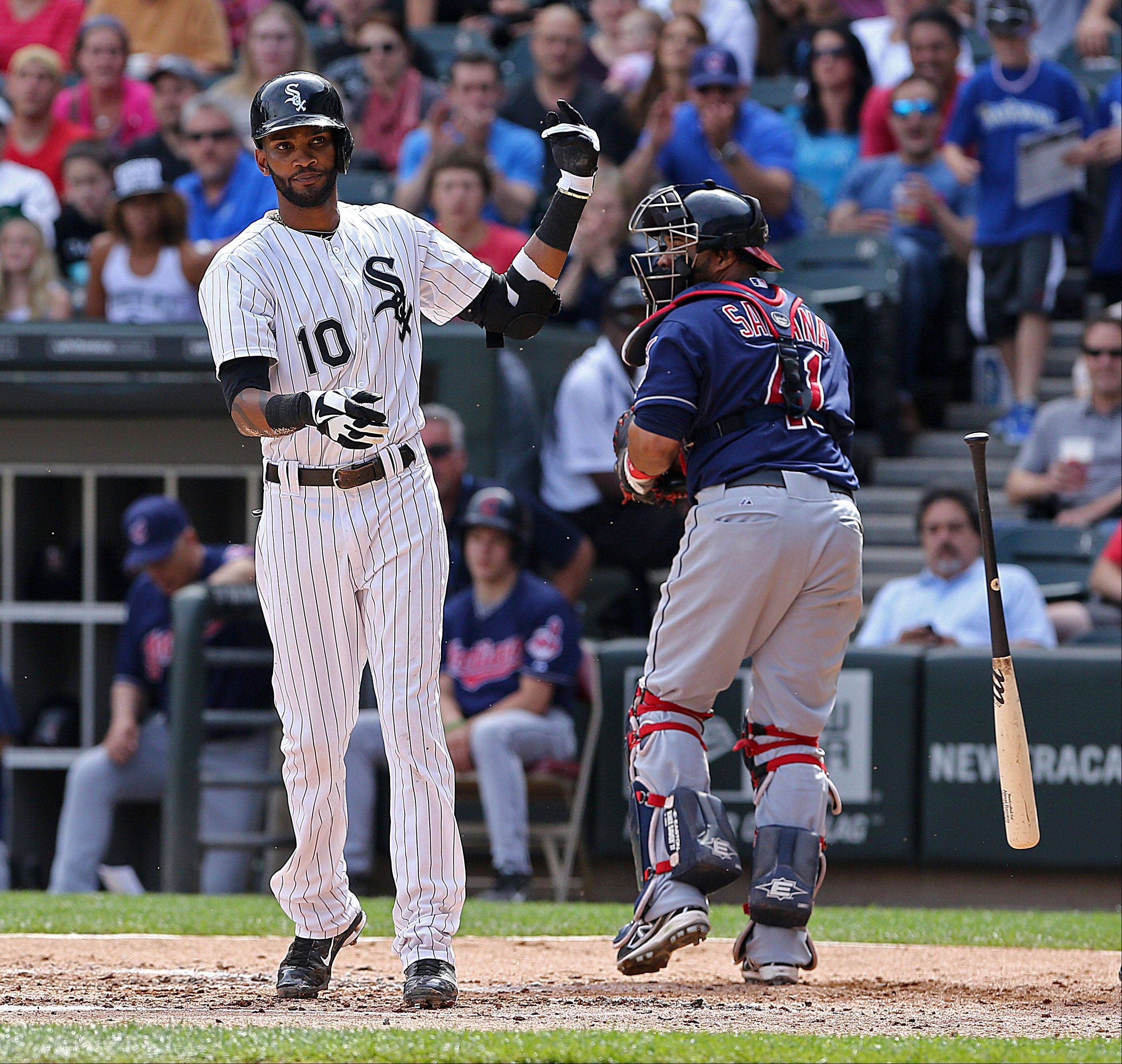 Alexei Ramirez flips his bat after striking out with two men on base to end the second inning Saturday at U.S. Cellular Field.