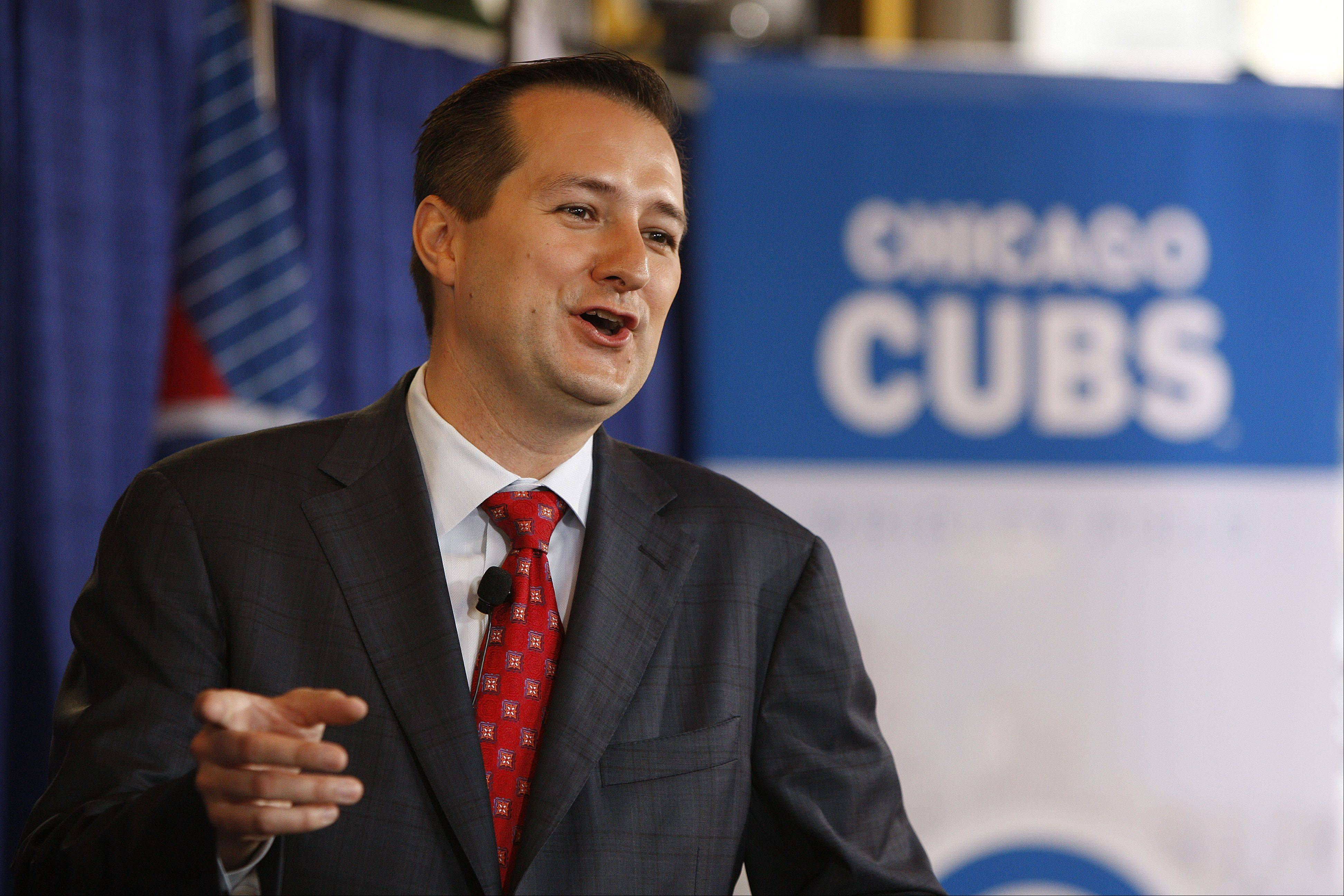 Tom Ricketts talks about his family's new ownership of the Chicago Cubs baseball club during a news conference at Wrigley Field, on Friday, Oct. 30, 2009, in Chicago. (AP Photo/Jim Prisching)