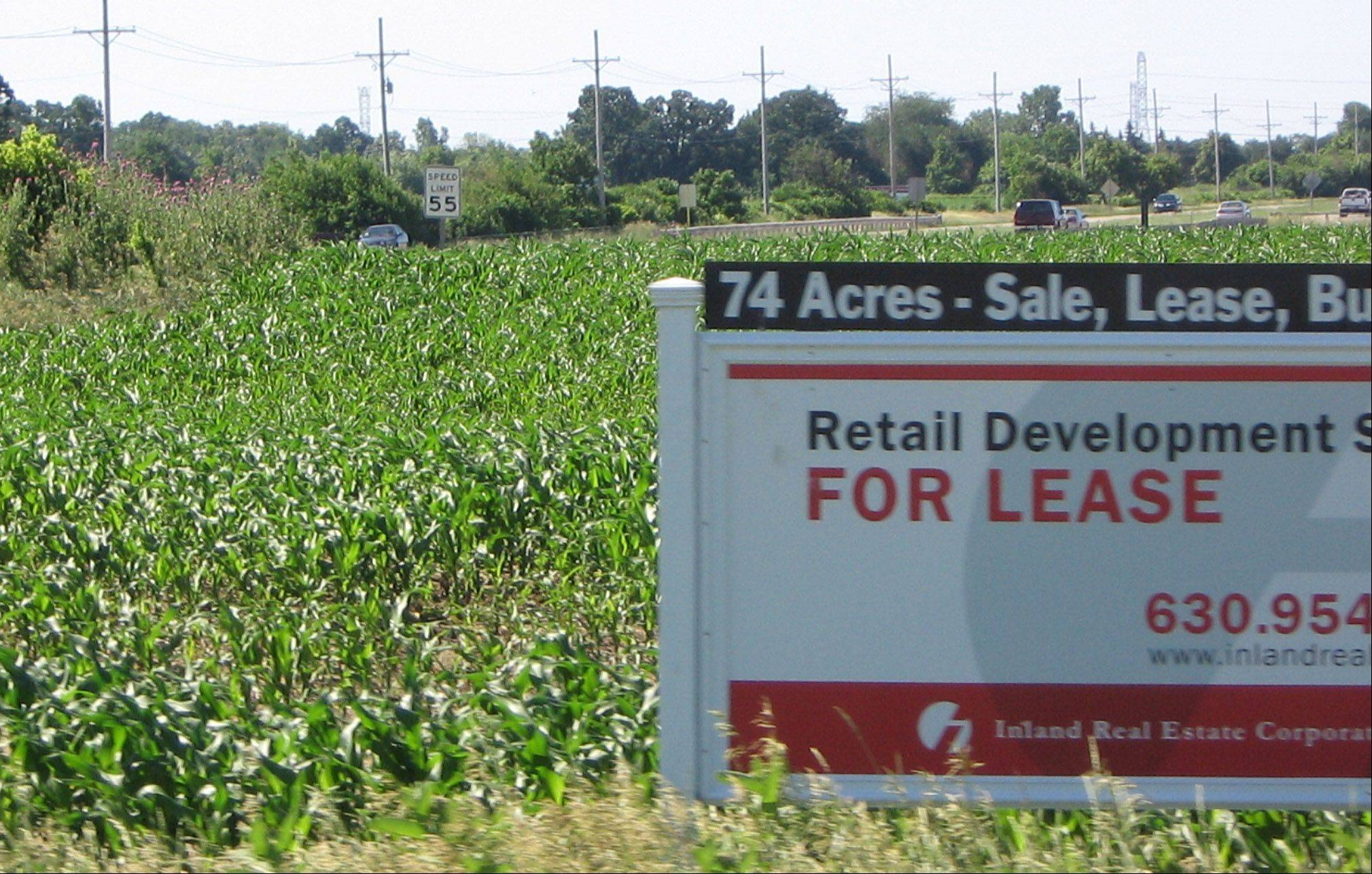 A development site is advertised on Route 12/120, which is considered a key growth intersection in Lakemoor.