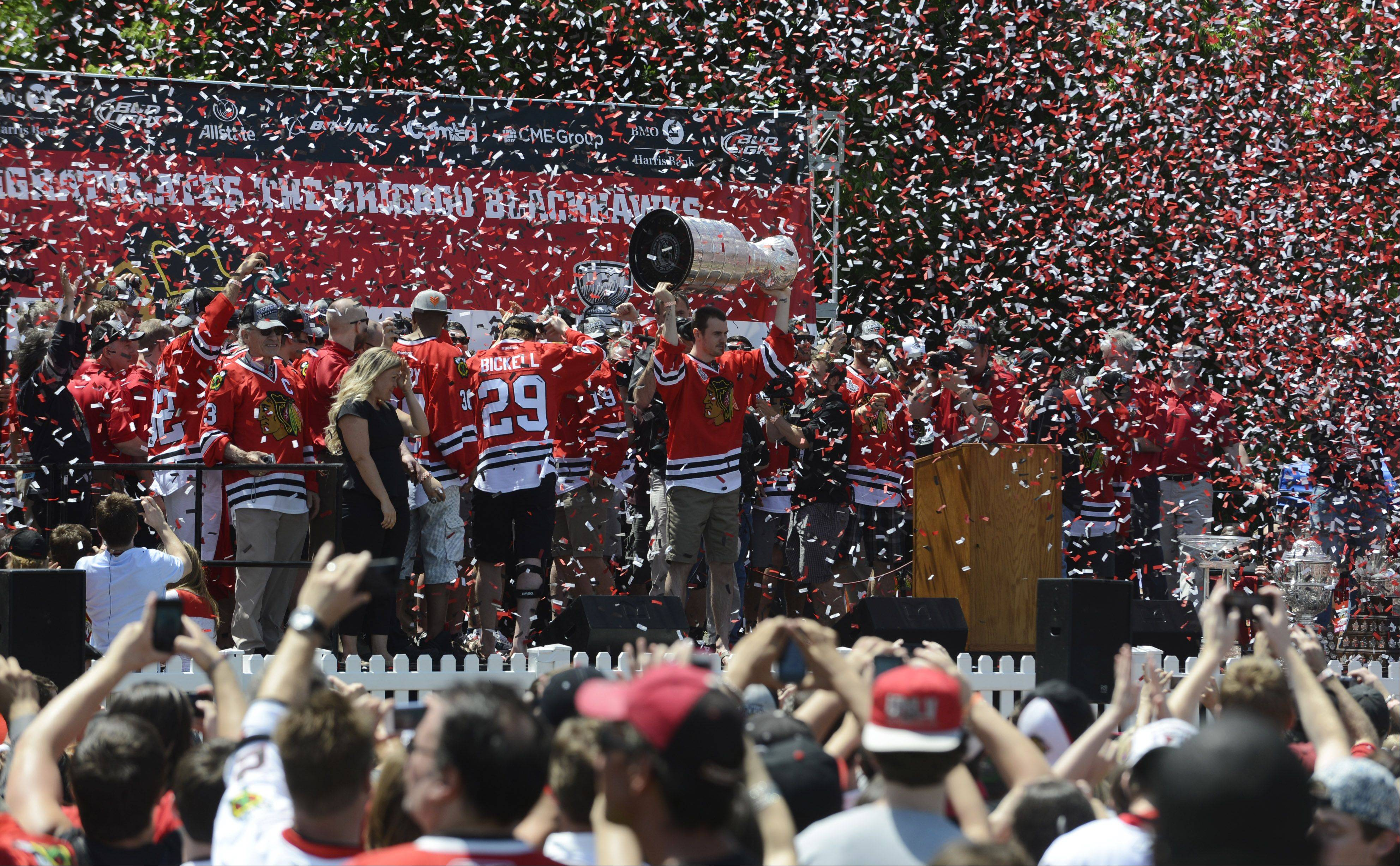 Chicago Blackhawks fans, new and old, united at Friday's rally at Hutchinson Field to celebrate a team and a franchise that has earned back their trust and admiration.