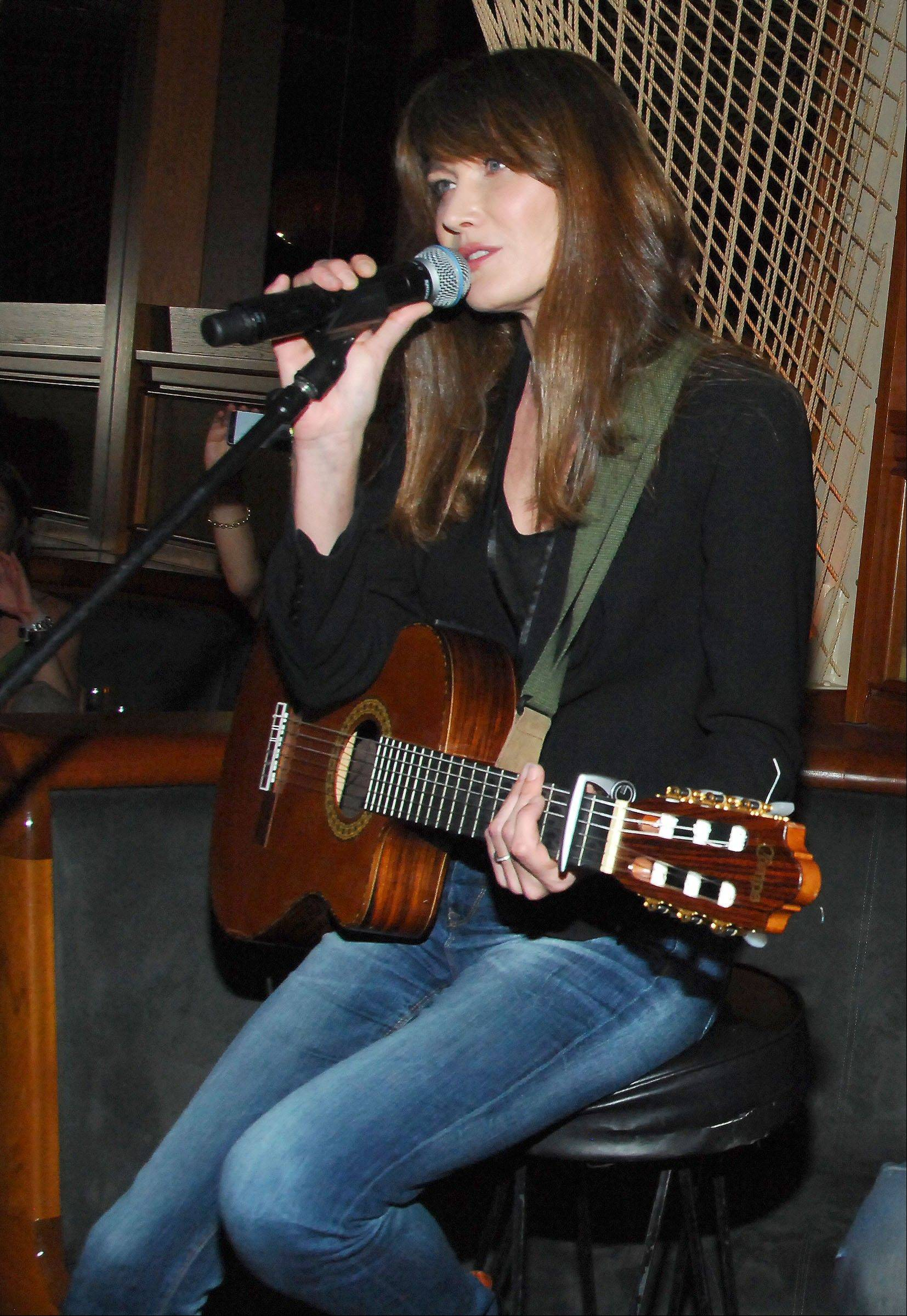 French singer Carla Bruni performs at the Royalton Hotel in New York.