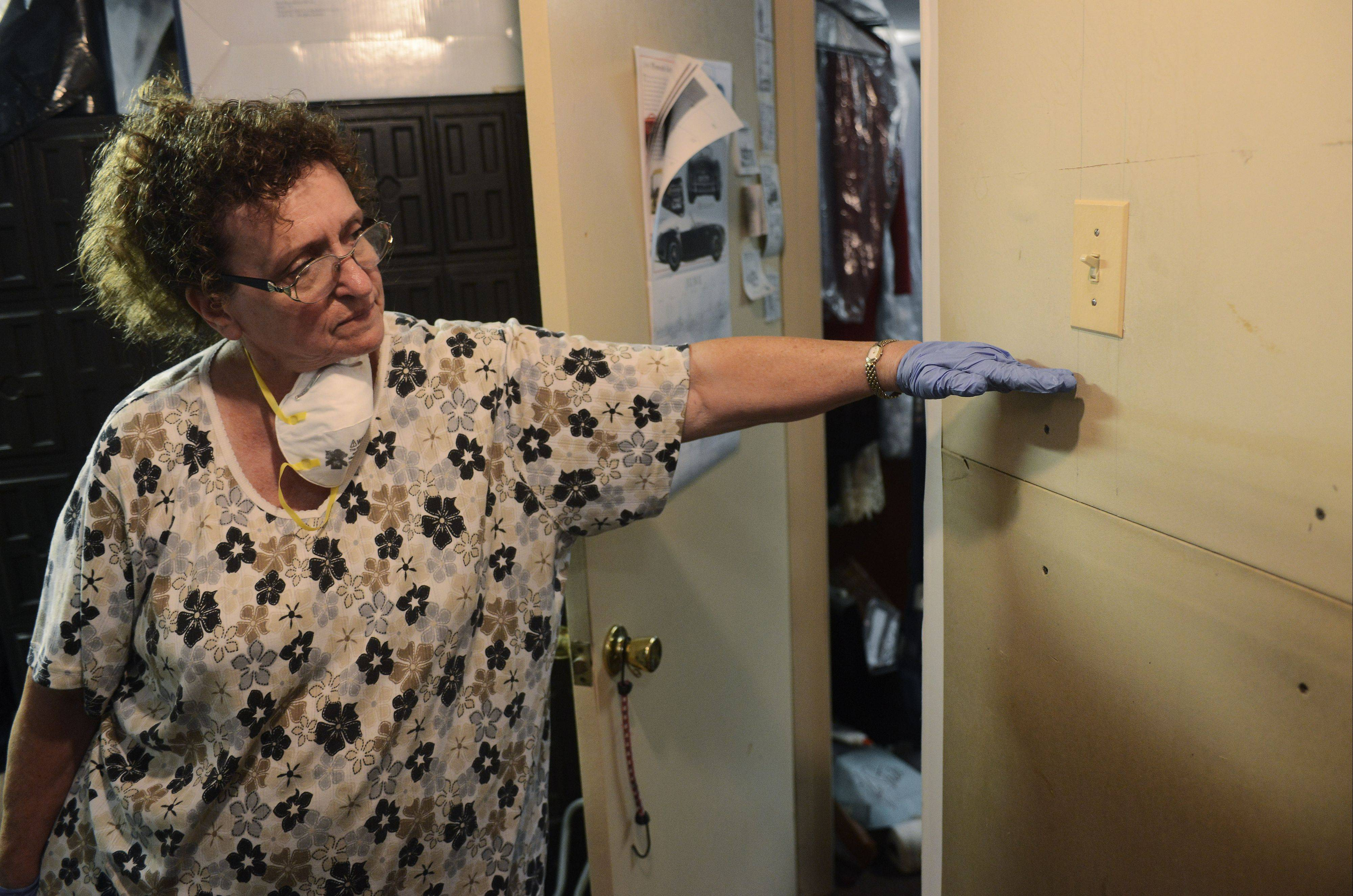 Rosemary Sebastian shows how high floodwater rose in the basement of her Lake Zurich home on Stanton Court, as cleanup from Wednesday�s storm continued Saturday.