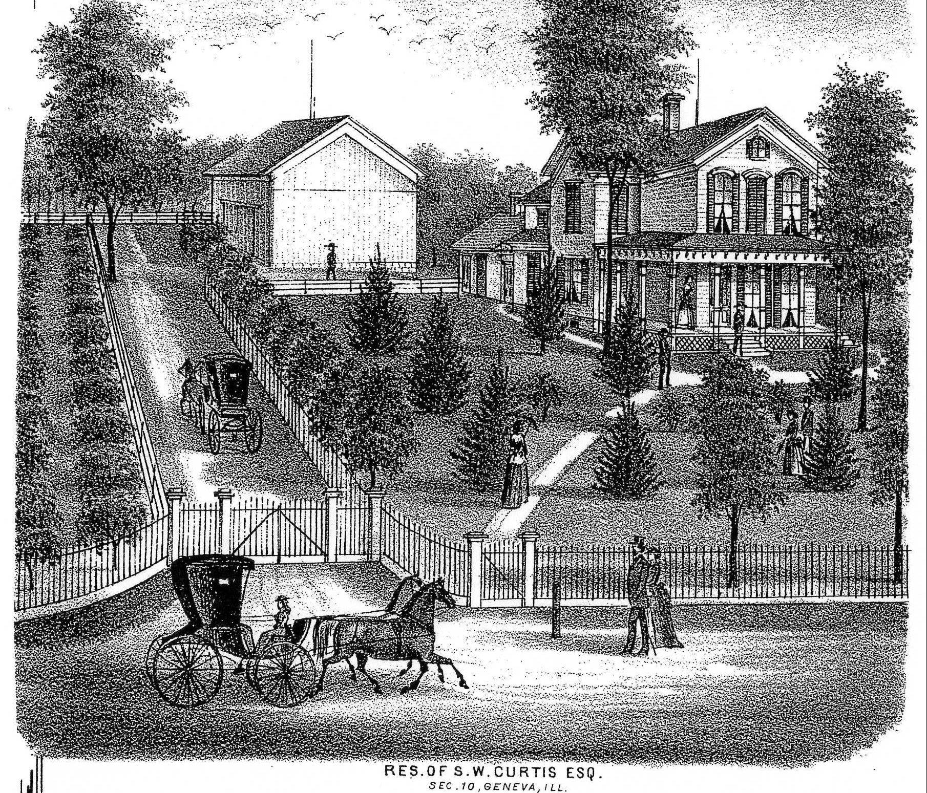 The 1872 Kane County Atlas contained this lithograph of the Curtis home.