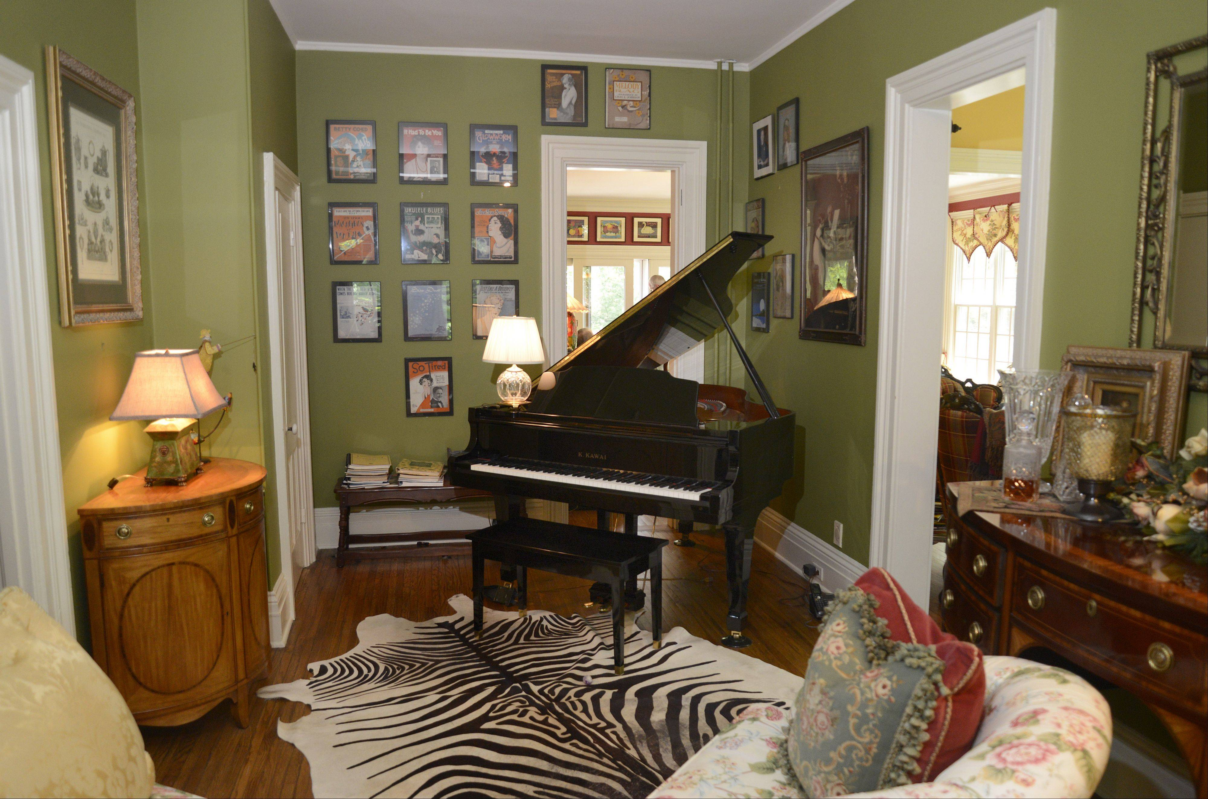 A music nook area adjoins the living room in the historic Curtis house at 1301 Batavia Ave. in Geneva.