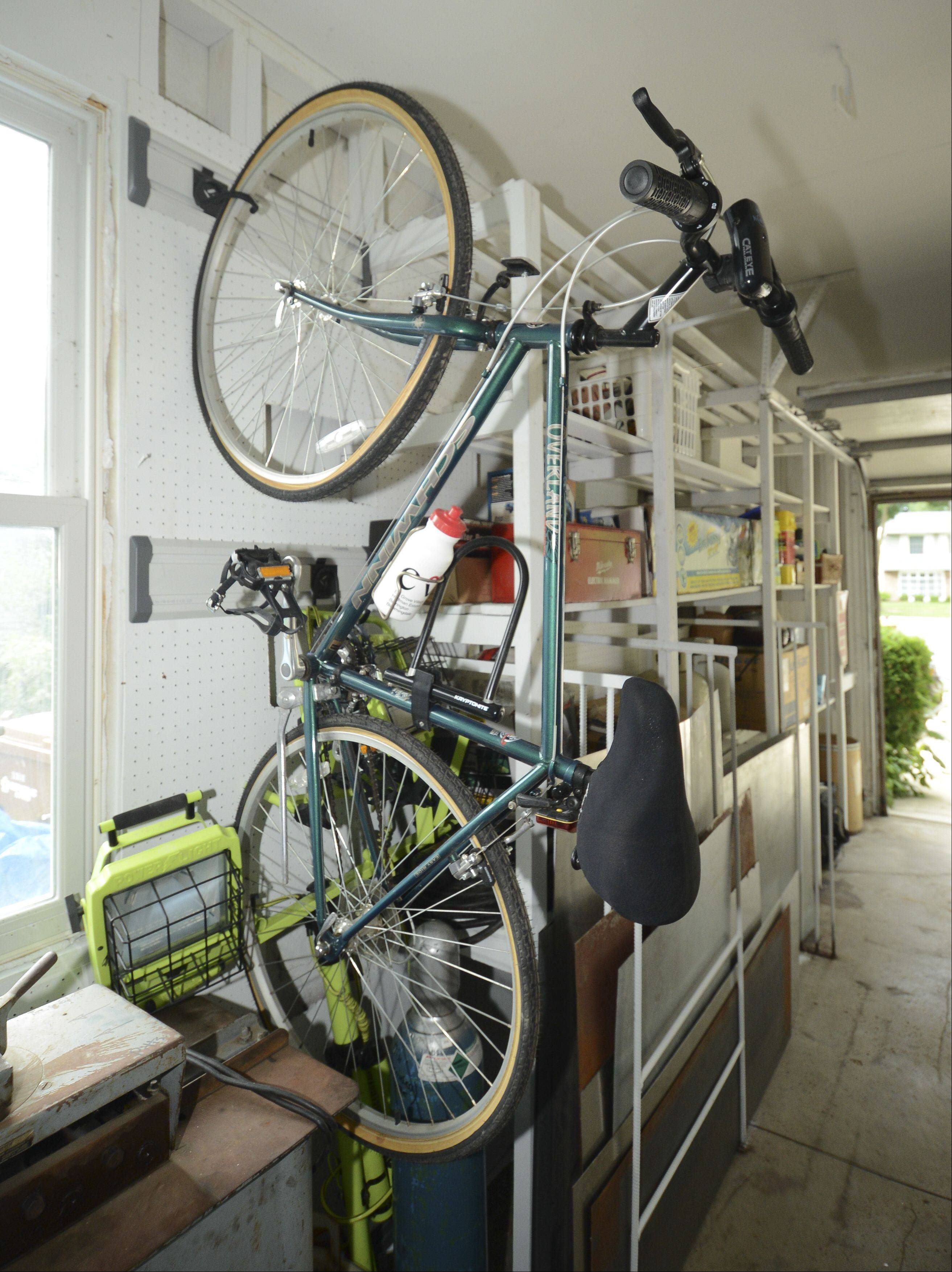 Part of the garage makeover included a rail system that can be customized to hold nearly anything including bikes.