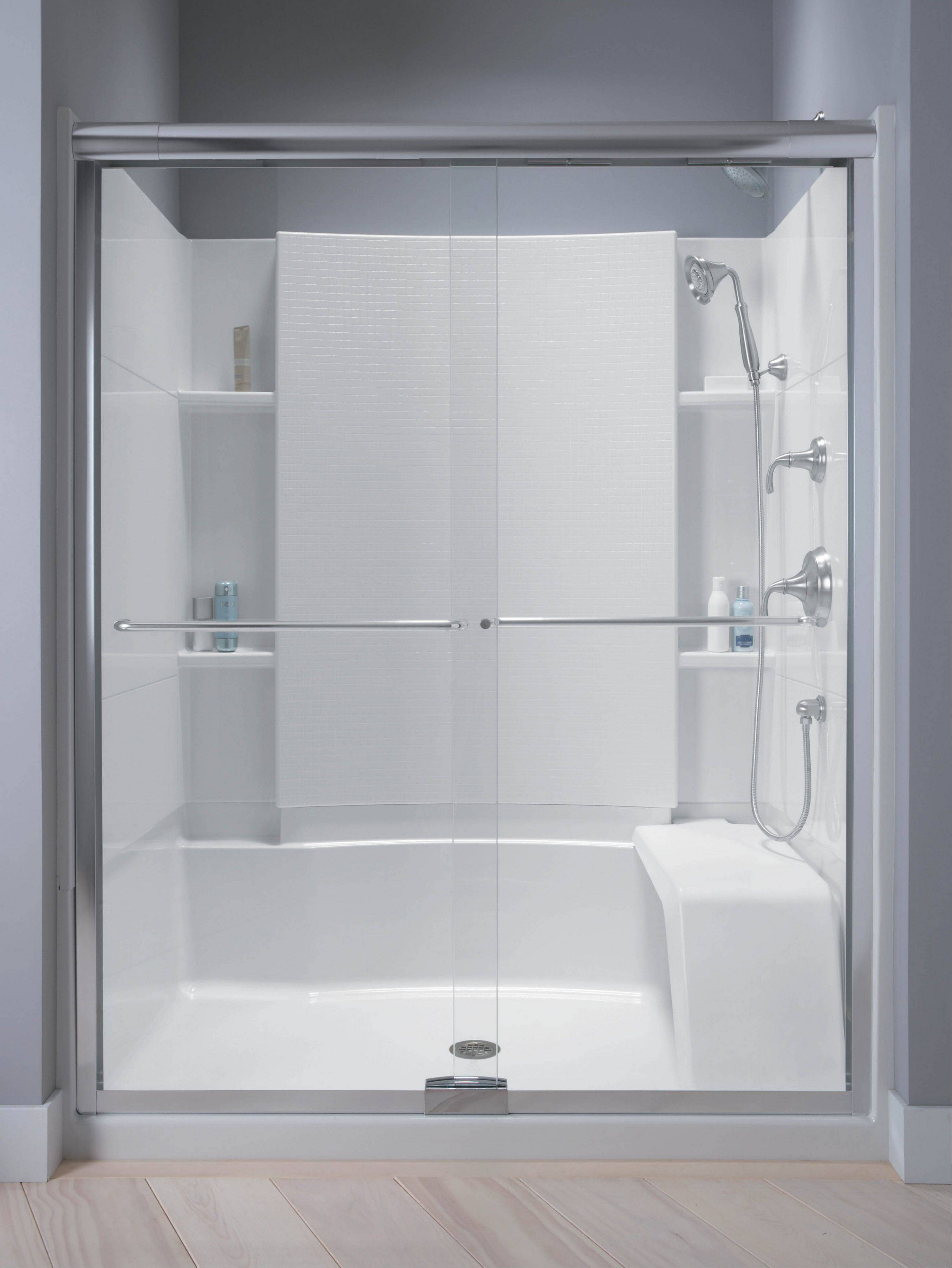 "A great ""aging-in-place"" option involves replacing the existing tub with a large walk-in shower base."