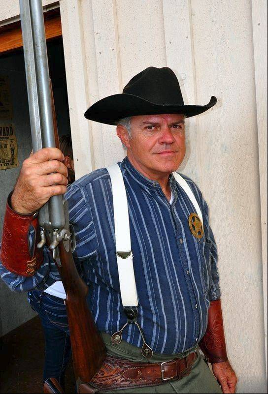 Weapons are loaded, but with blanks, for free shows put on by the Cheyenne Gunslingers.