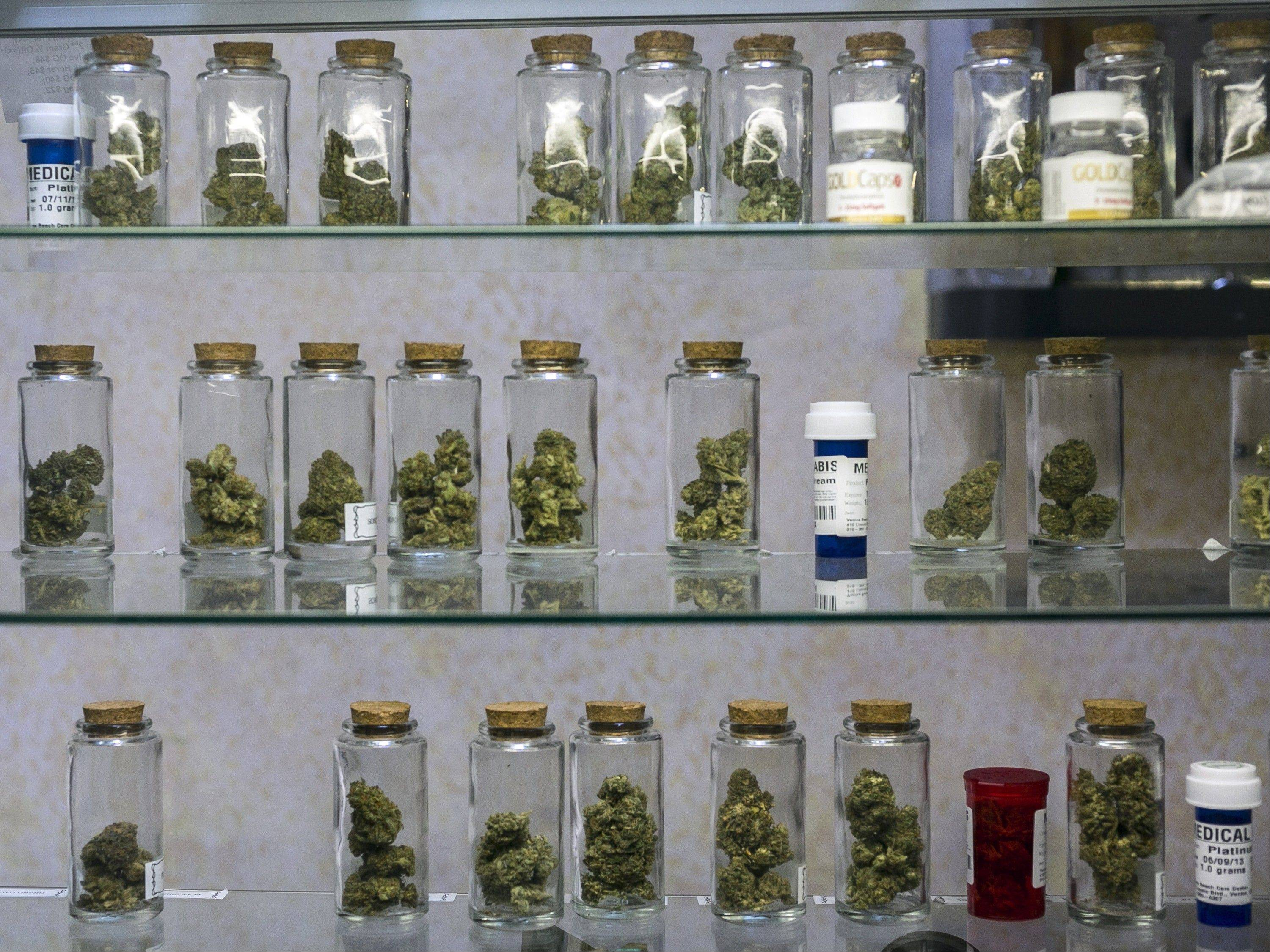 Medical marijuana vials displayed at the Venice Beach Care Center medical marijuana dispensary in Venice, Calif.
