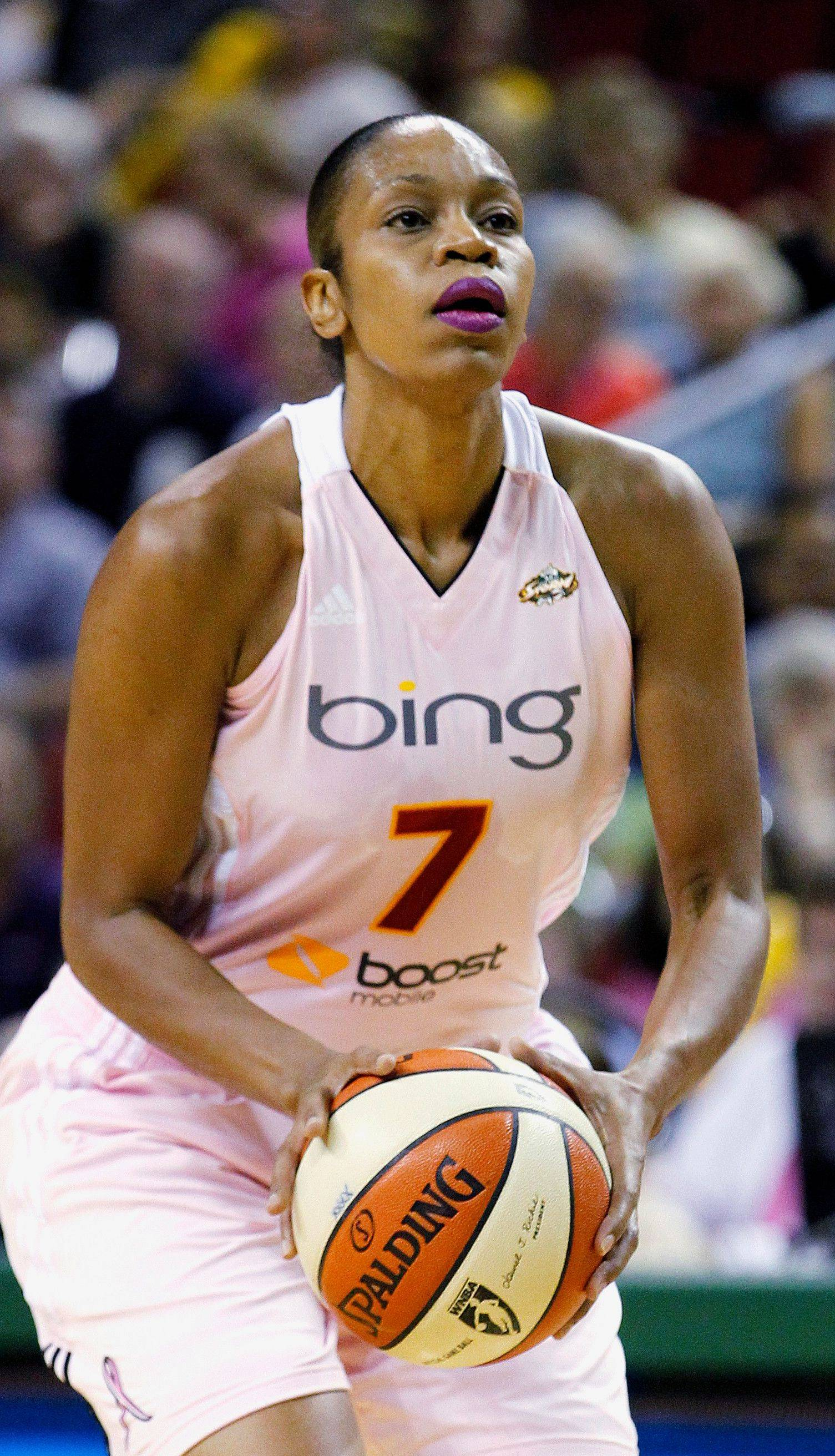 Seattle Storm's Tina Thompson lines up to take a shot against the Chicago Sky during the first half of a game last season. Thompson will retire after this season, her 17th in the league.