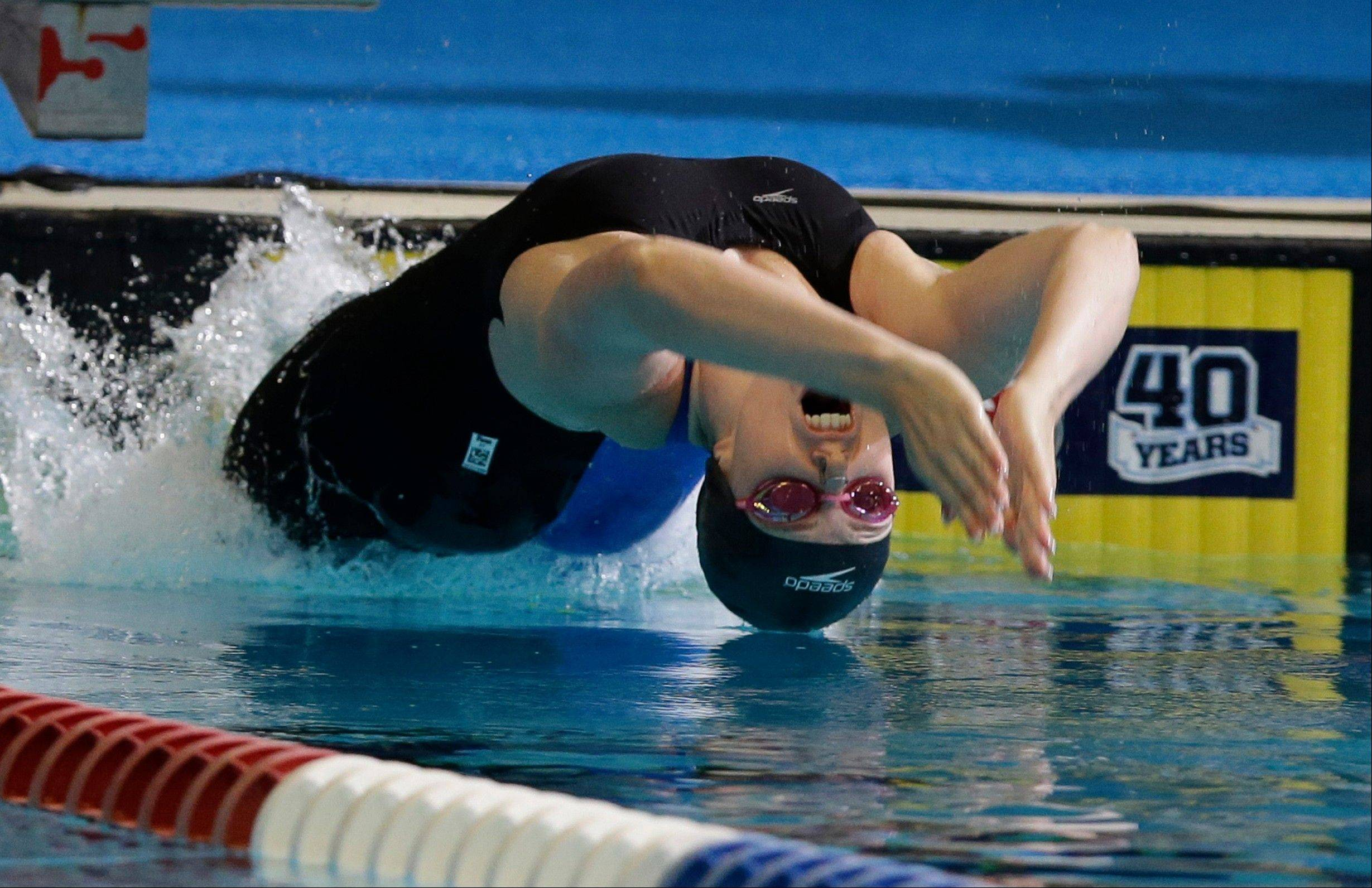 Missy Franklin, 18, starts the 50-meter backstroke Thursday during the U.S. National Championships in Indianapolis. Franklin finished second.