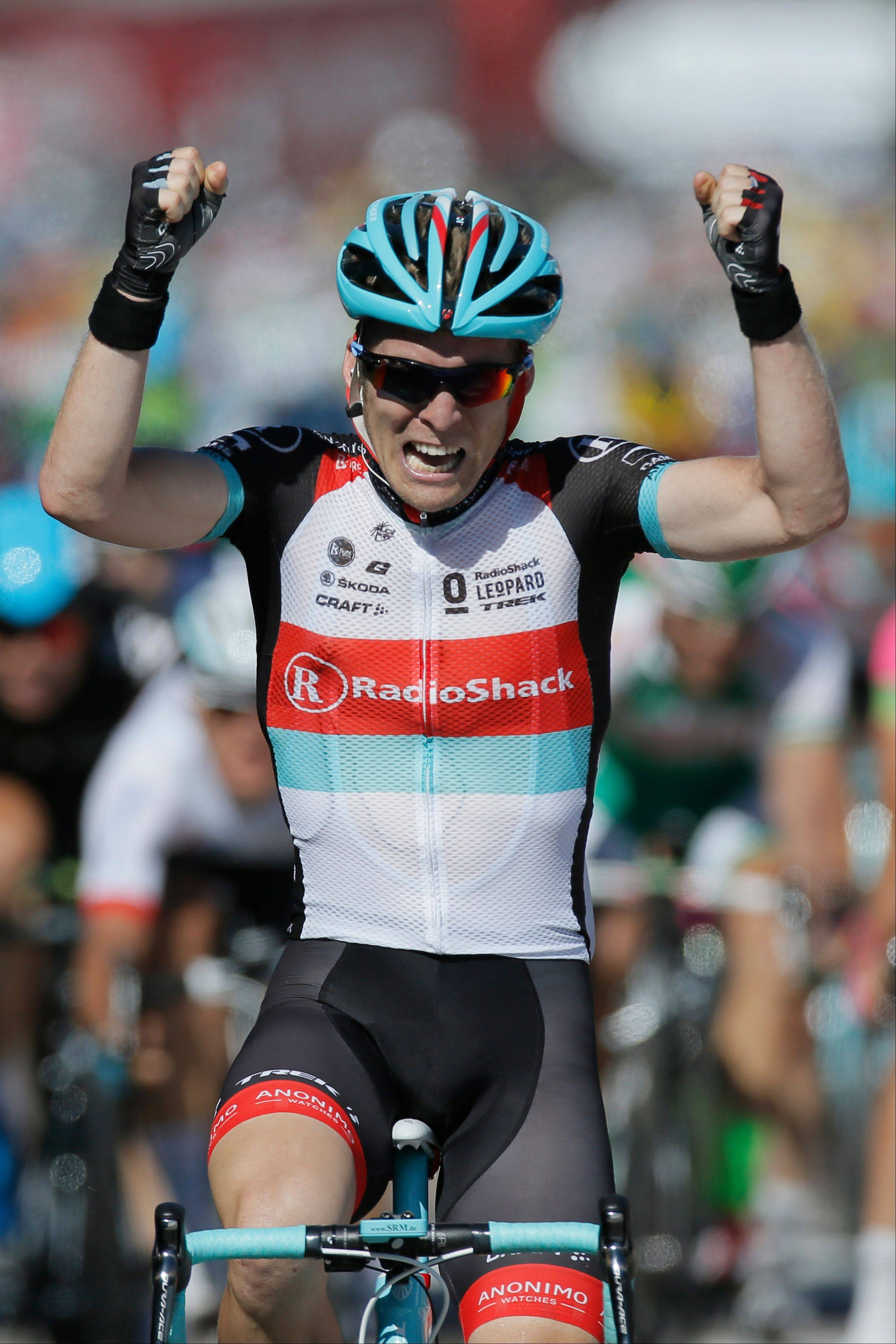 Jan Bakelants of Belgium crosses the finish line Sunday to win the second stage of the Tour de France in Ajaccio, Corsica.