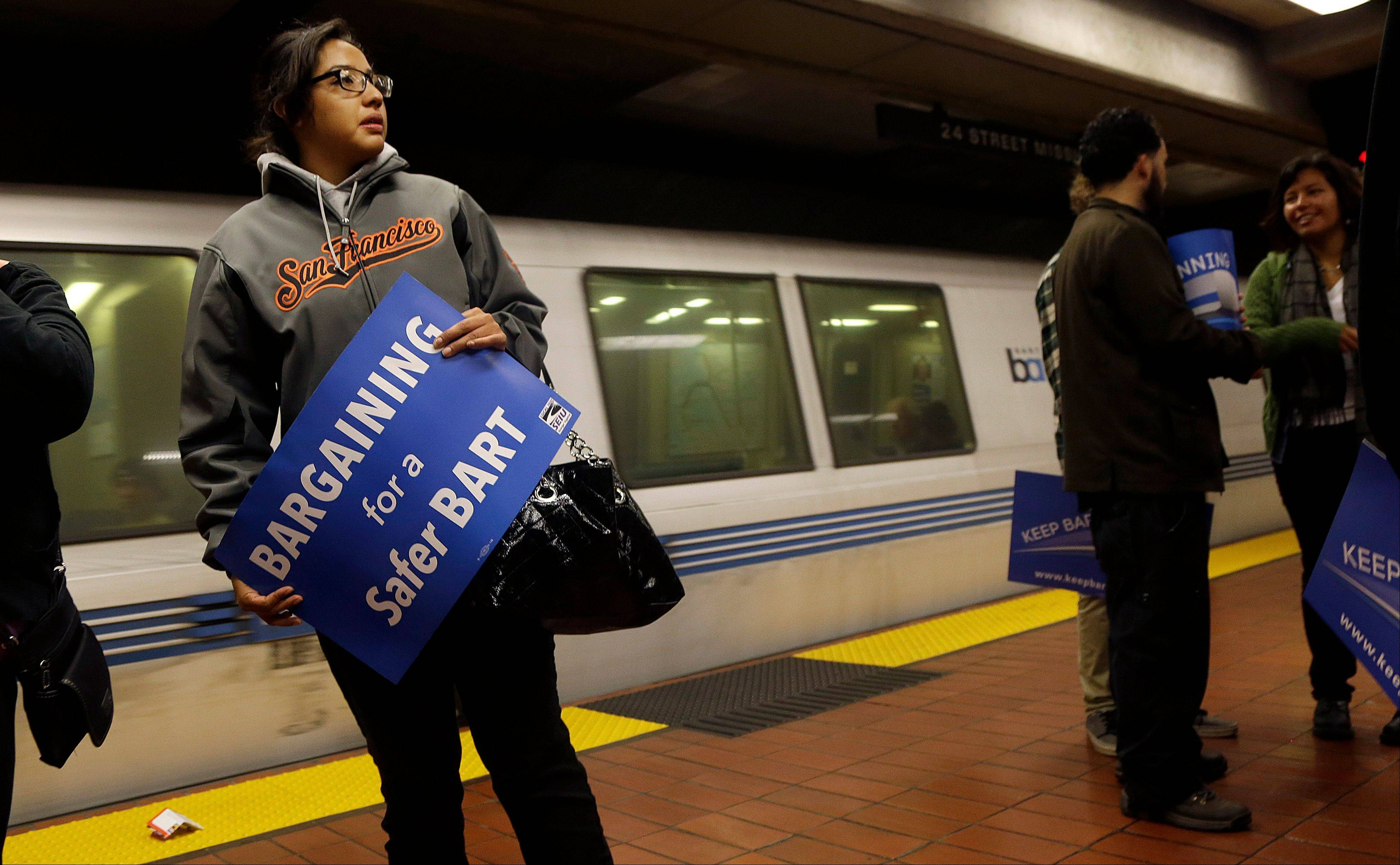 Early Monday, two of San Francisco Bay Area Rapid Transit�s largest unions went on strike after weekend talks with management failed to produce a new contract.