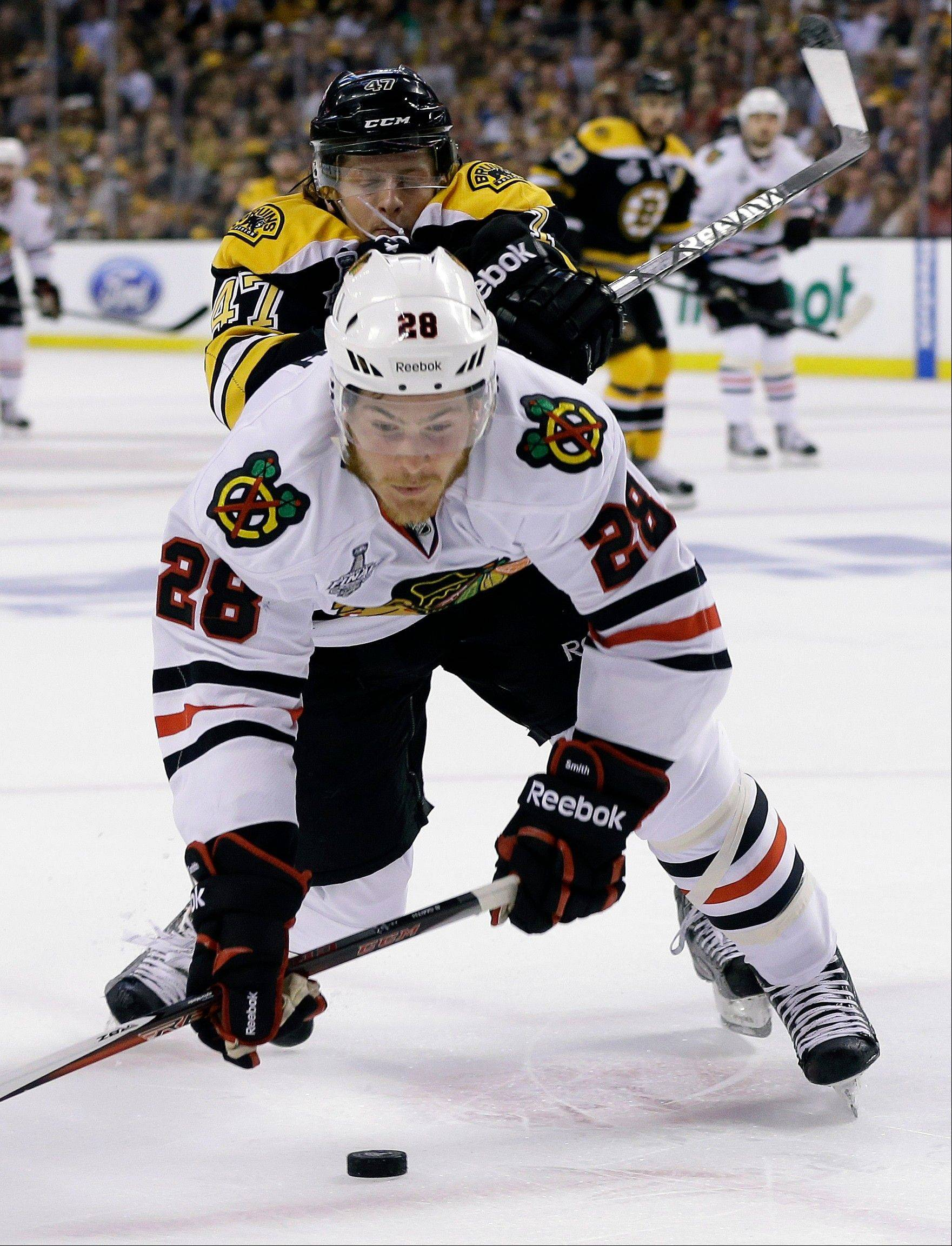 Ben Smith, who got a chance to play in Game 3 of the Stanley Cup Final, will get a good look when Blackhawks training camp opens in September.