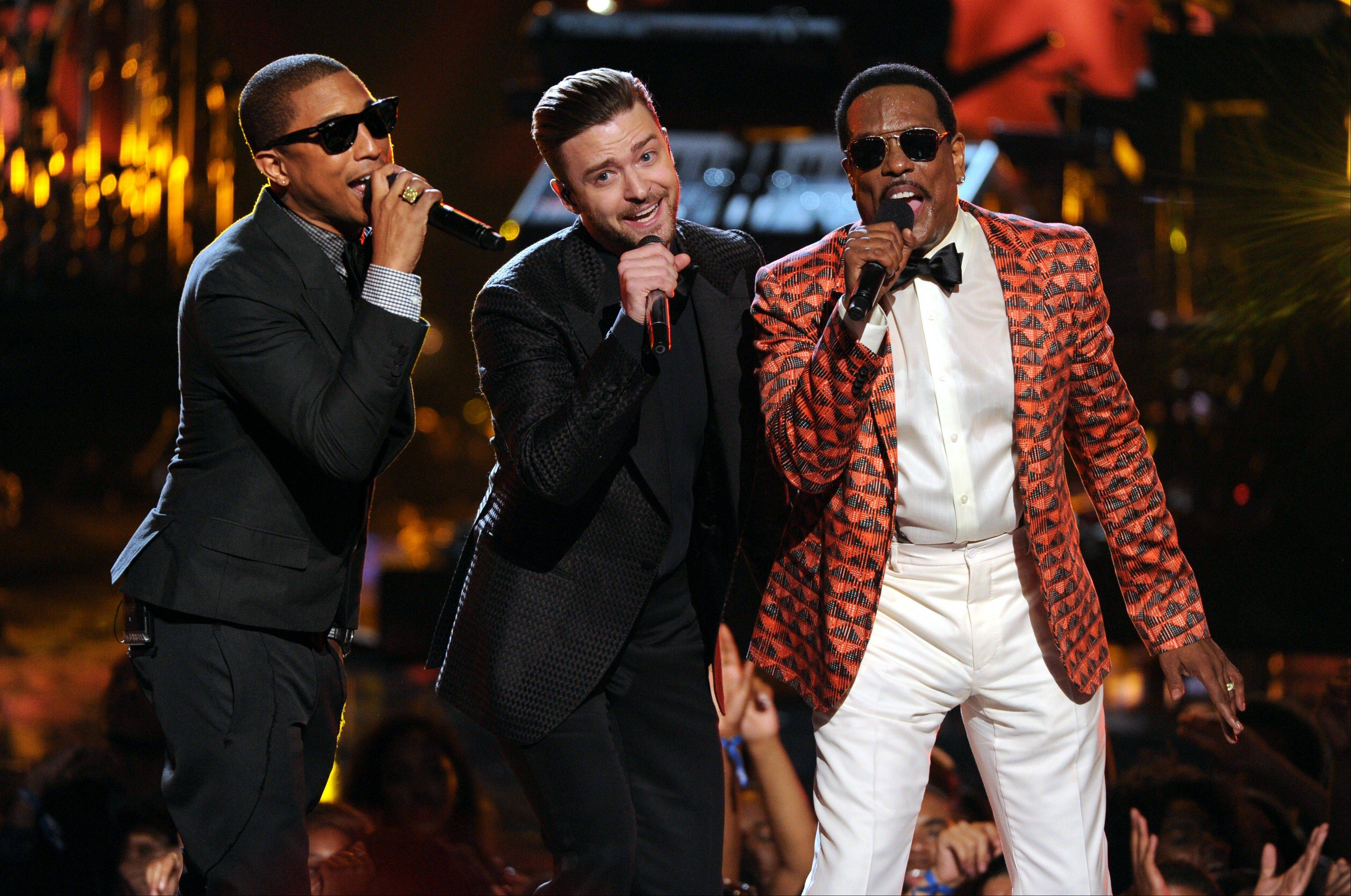 Pharrell Williams, left, Justin Timberlake and Charlie Wilson perform onstage at the BET Awards at the Nokia Theatre on Sunday. The show was more about the performances than the awards this year.