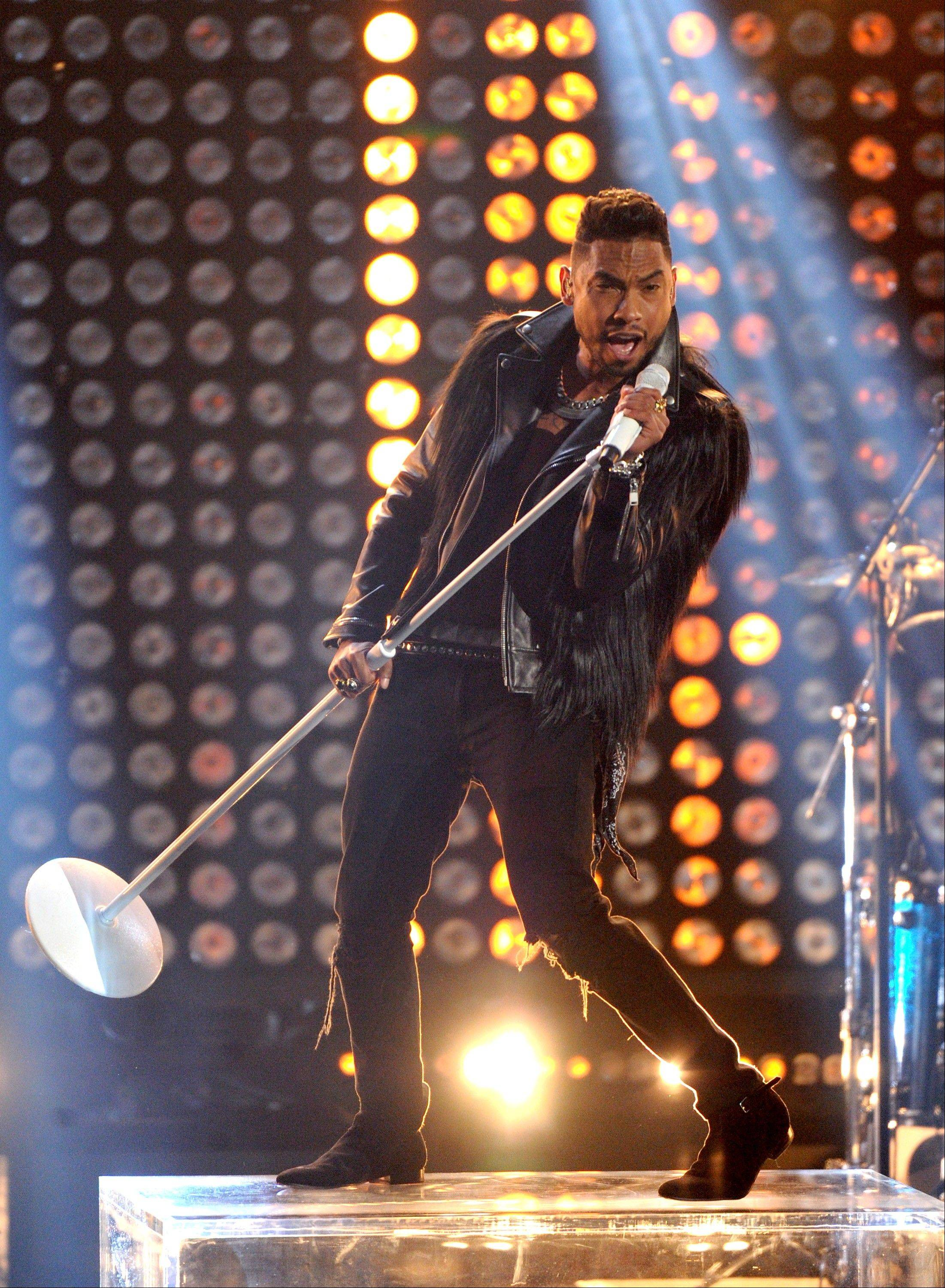 Miguel performs at the BET Awards at the Nokia Theatre in Los Angeles on Sunday.