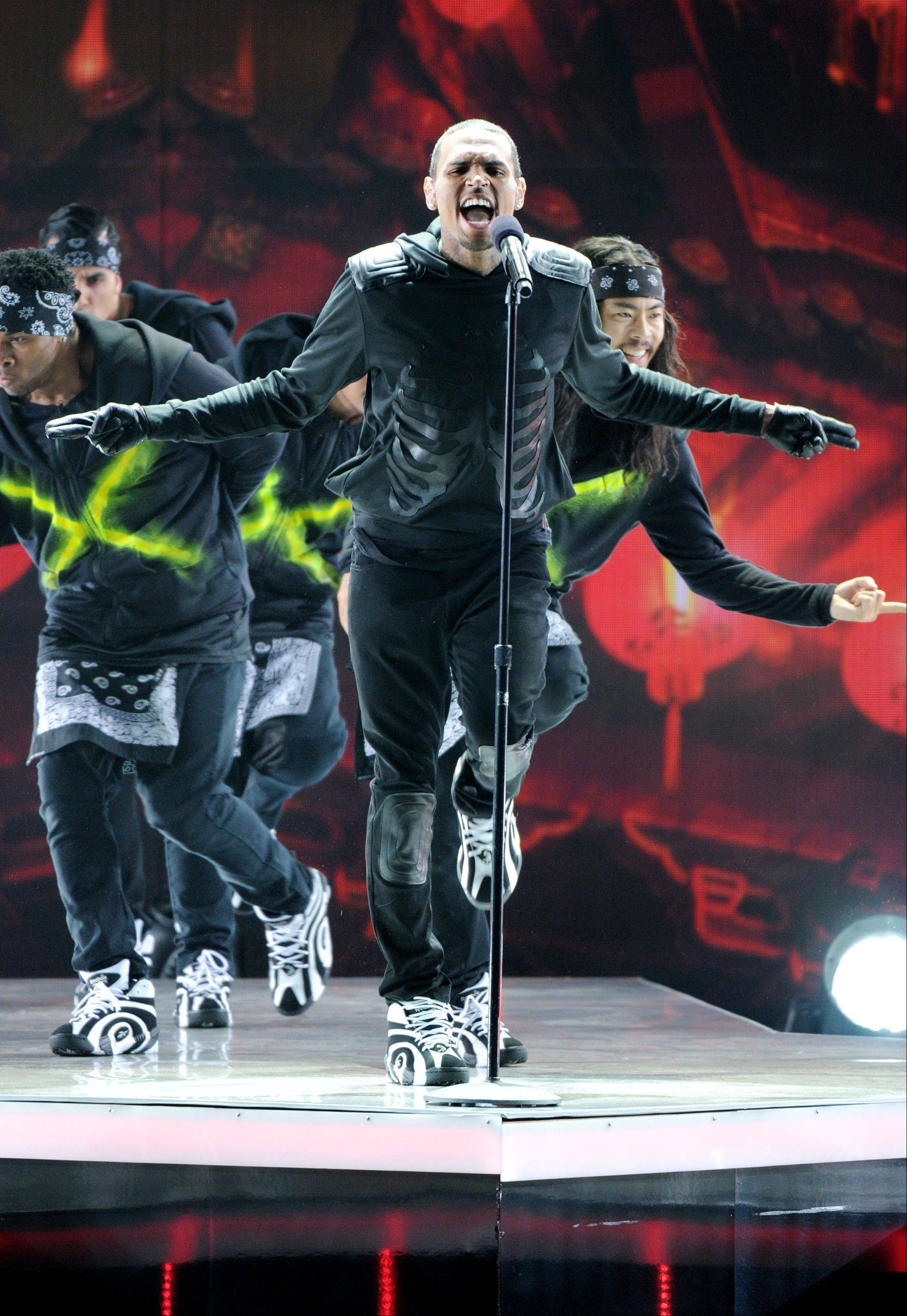 Chris Brown wows the crowd at the BET Awards.