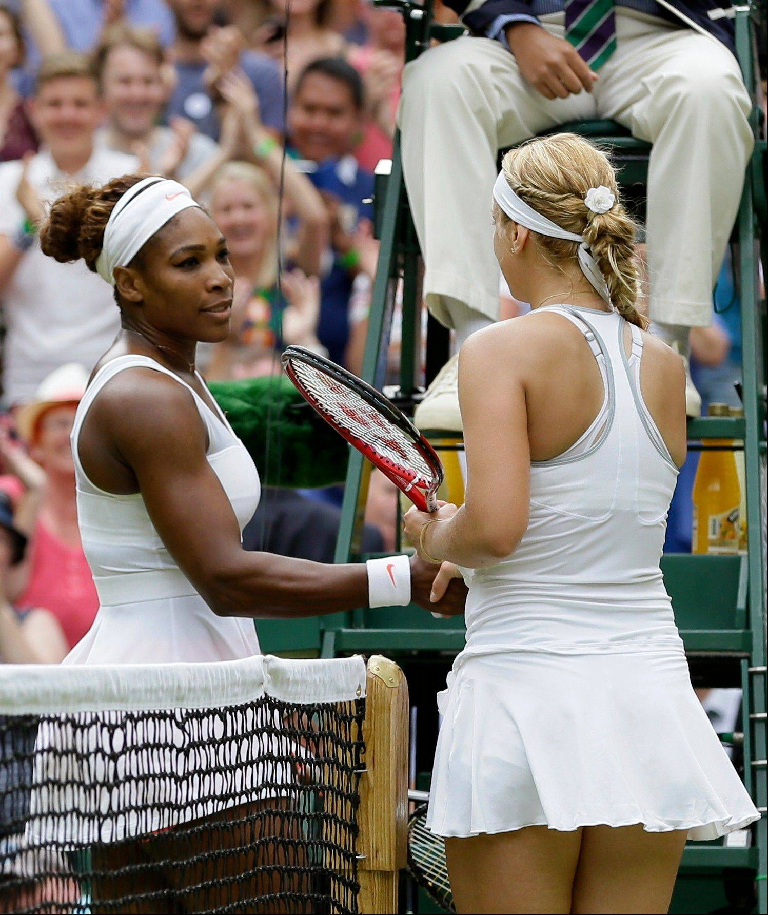 Sabine Lisicki beat Serena Williams 6-2, 1-6, 6-4 in the fourth round of Wimbledon.