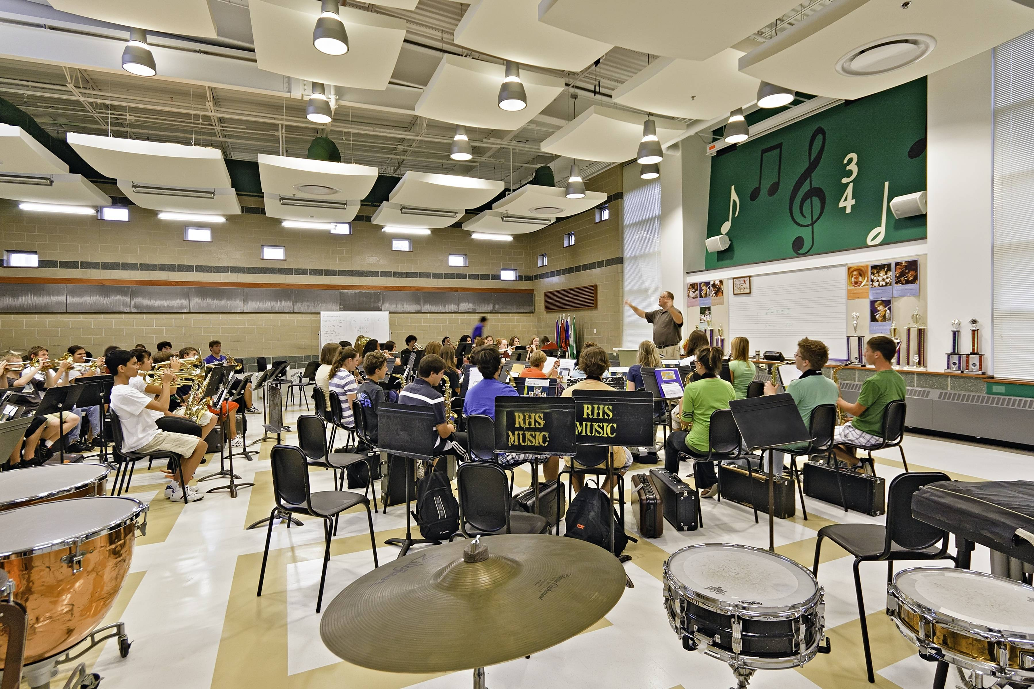 Modern band room design at Ridgewood High School by DLA Architects