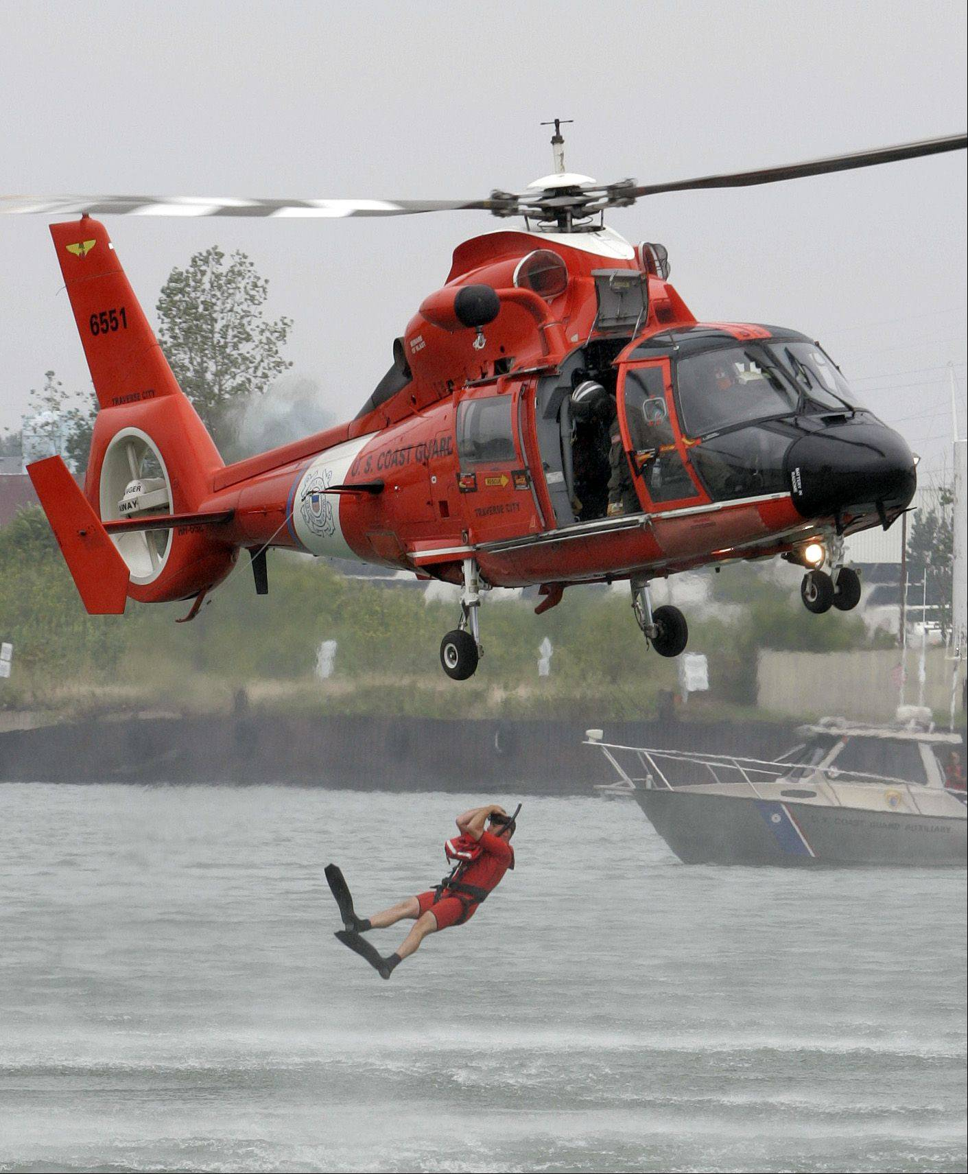 The U.S. Coast Guard performs a water rescue demonstration off Waukegan Harbor.