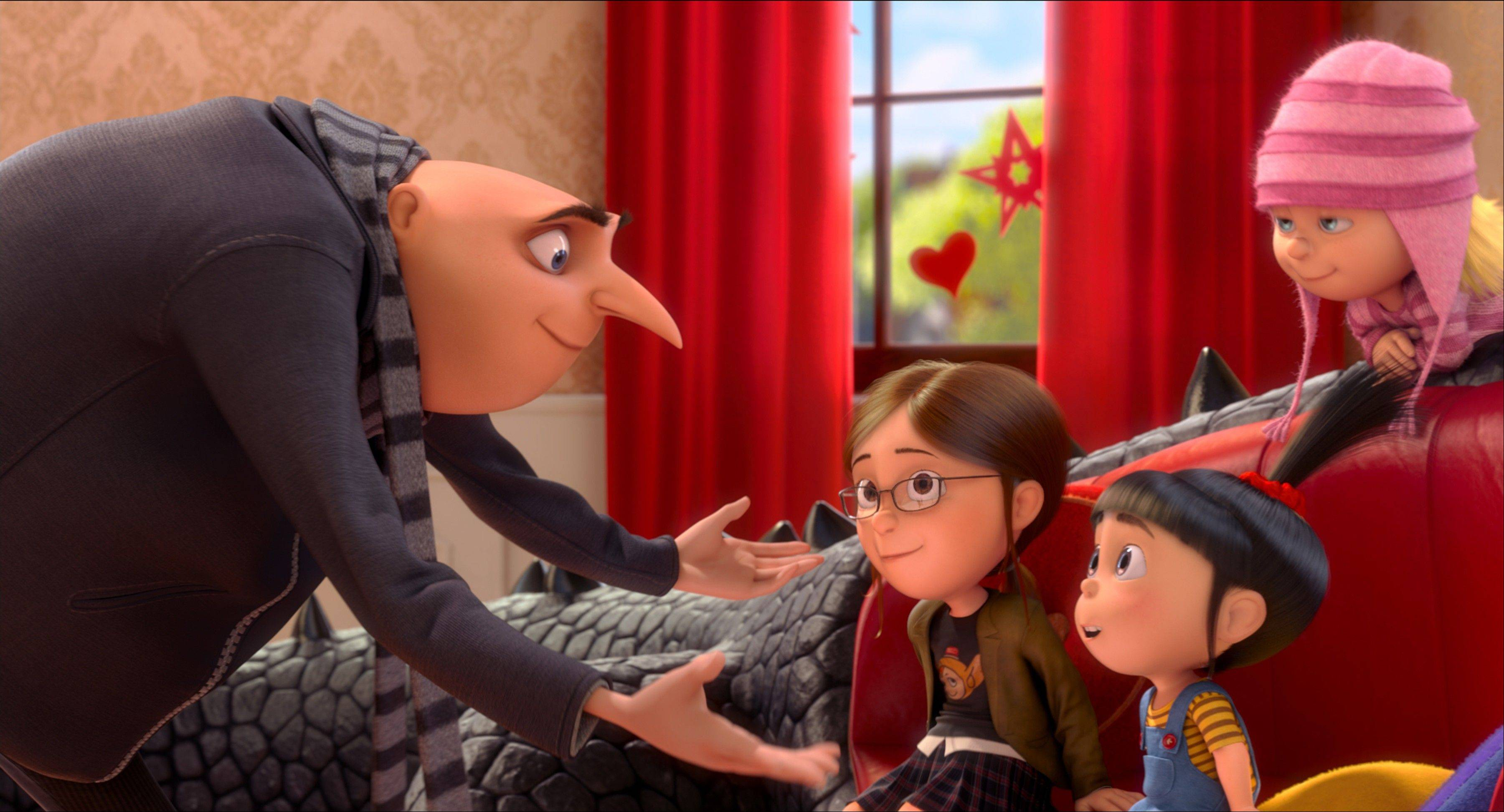 "Ex-villain Gru (Steve Carell) counsels his three wards on acceptable behavior in the animated 3-D sequel ""Despicable Me 2."""