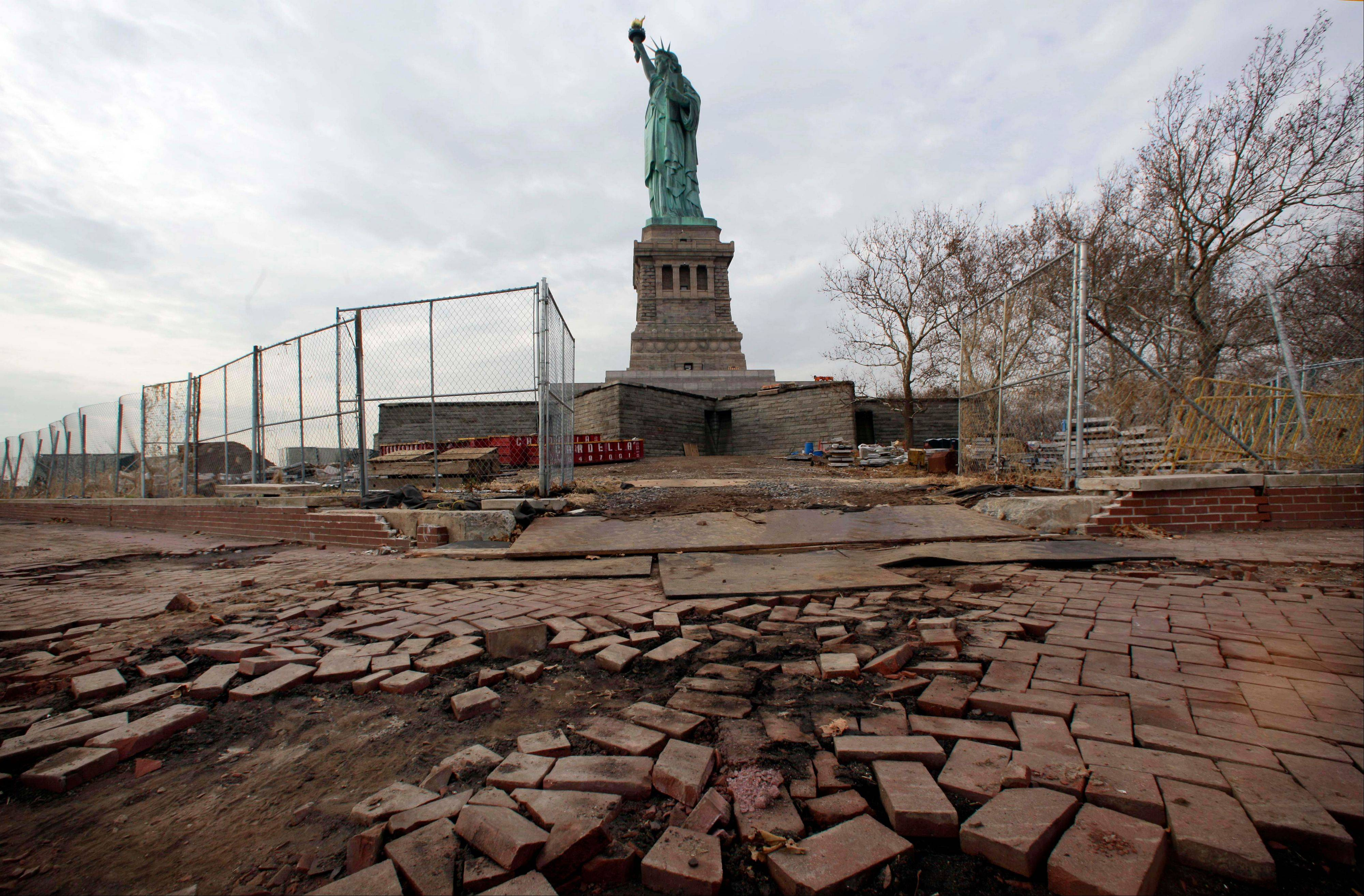 Parts of the brick walkway of Liberty Island that were damaged in Superstorm Sandy are shown during a tour of New Yorkís Liberty Island.
