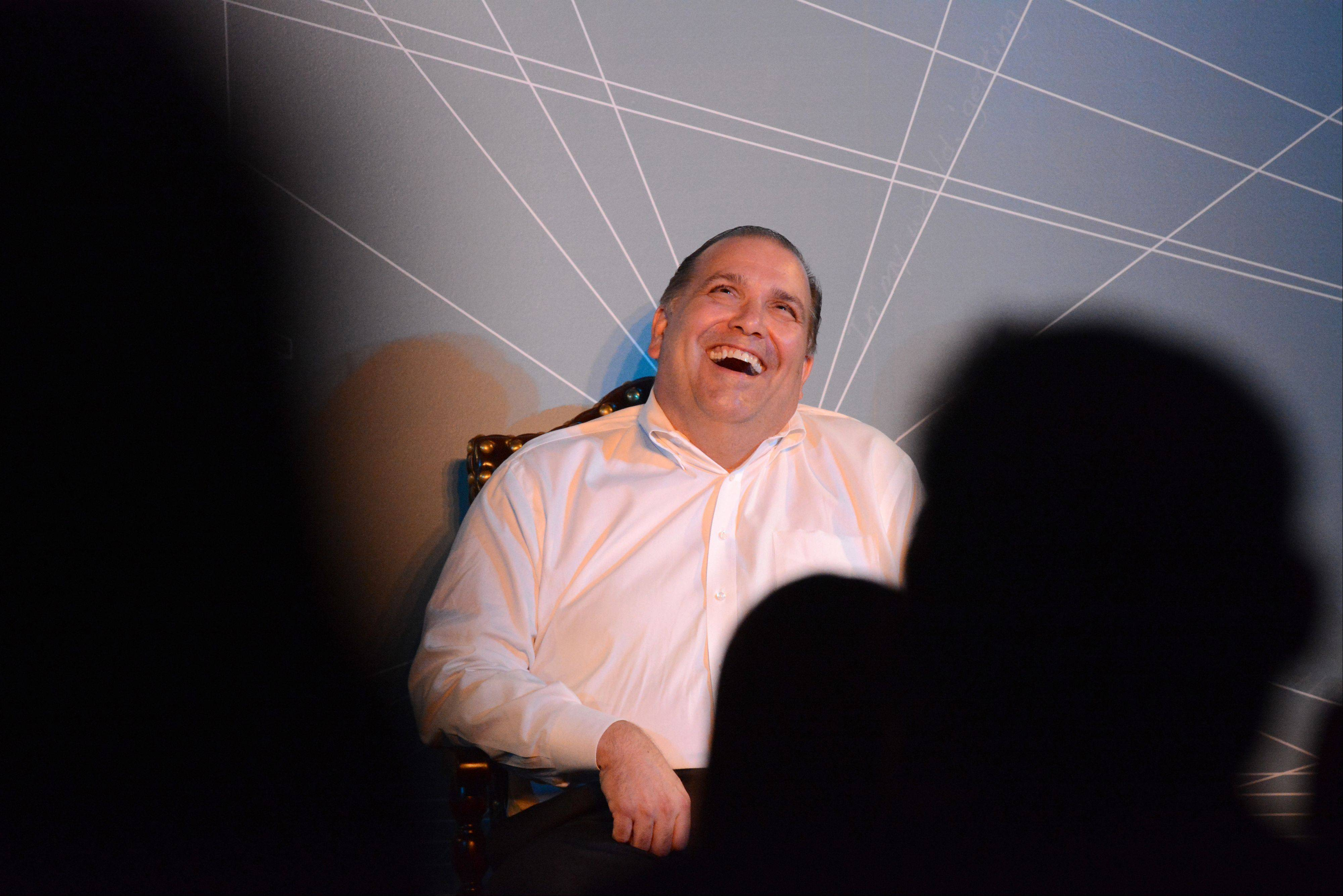Rosemont Mayor Brad Stephens was all smiles during his roast Saturday at Zanies Comedy Club in Rosemont.