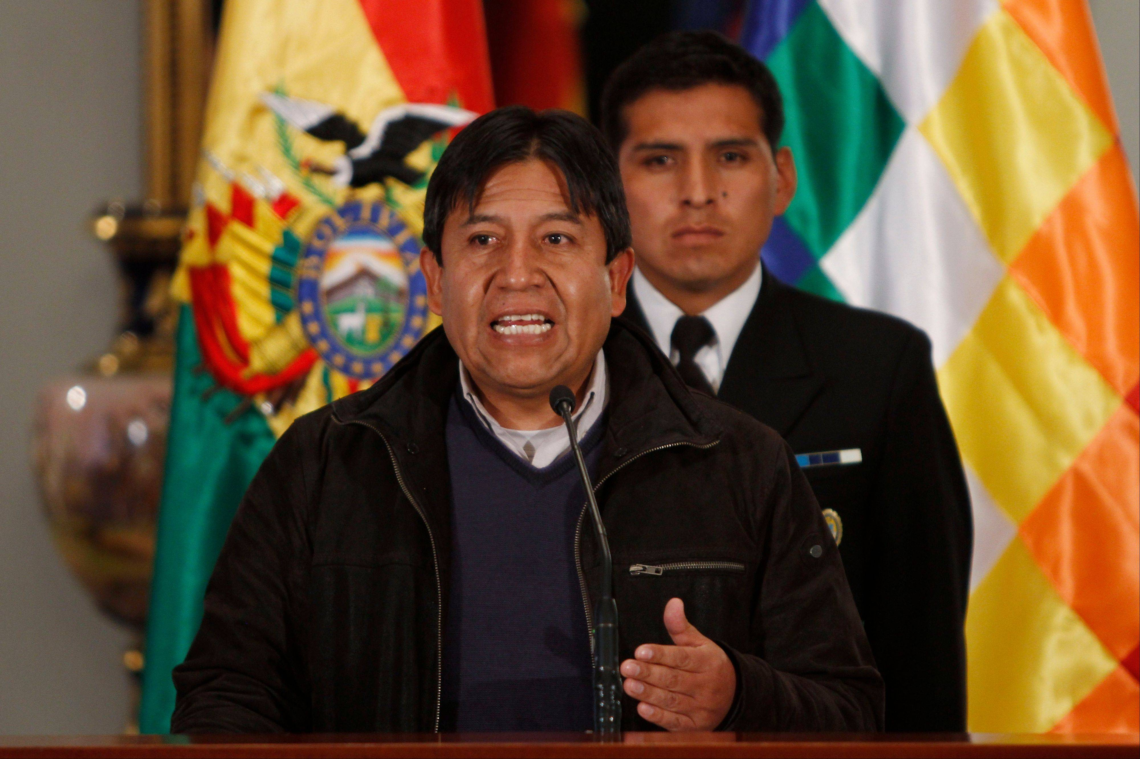 Bolivia's Foreign Minister David Choquehuanca, speaking in La Paz, Bolivia, Tuesday, said the plane bringing President Evo Morales home from Russia was rerouted to Austria after France and Portugal refused to let it to cross their airspace because of suspicions that NSA leaker Edward Snowden was on board.