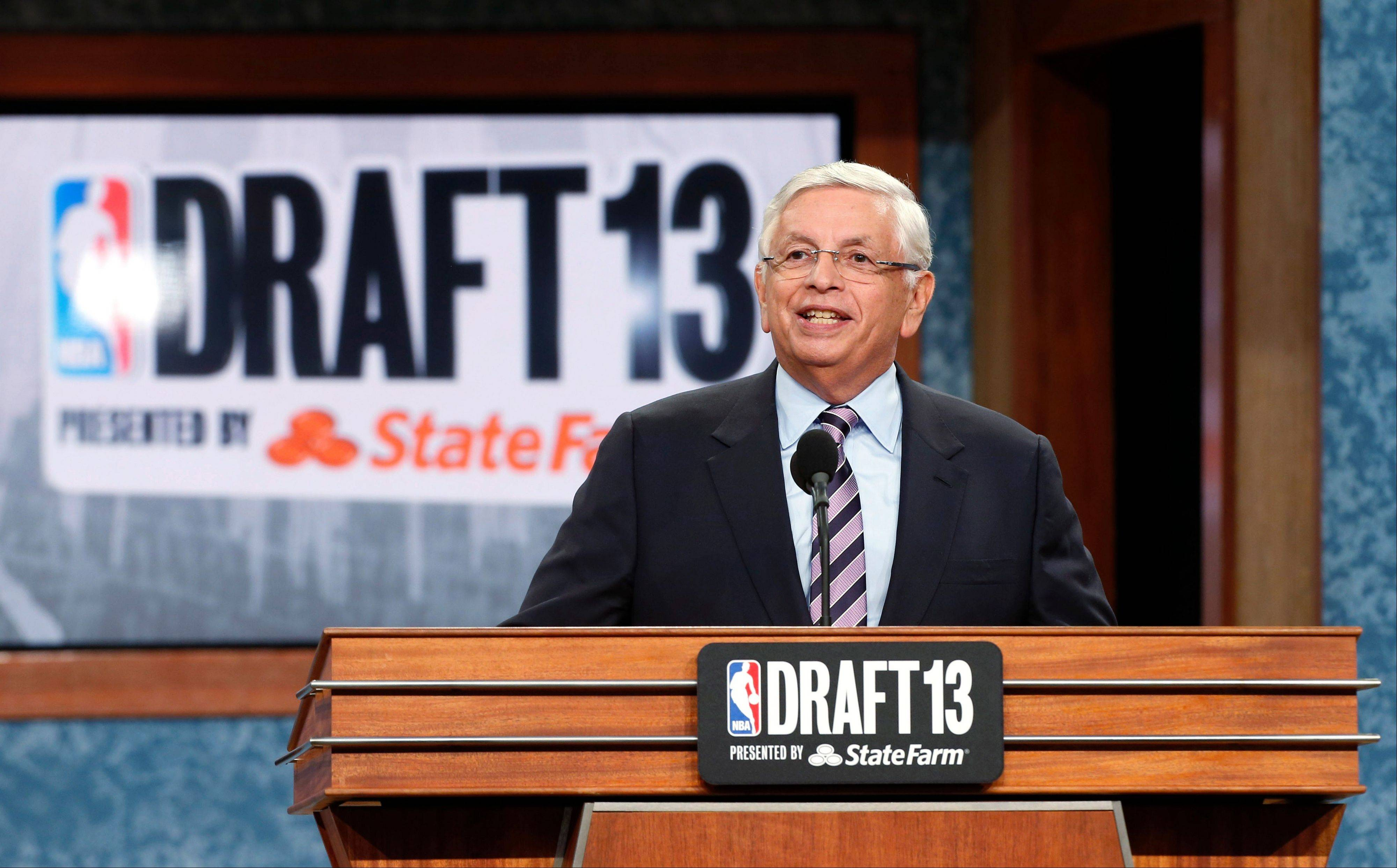 NBA Commissioner David Stern, here presiding over the NBA draft on Thursday, will officially step down next February after 30 years of running the league.