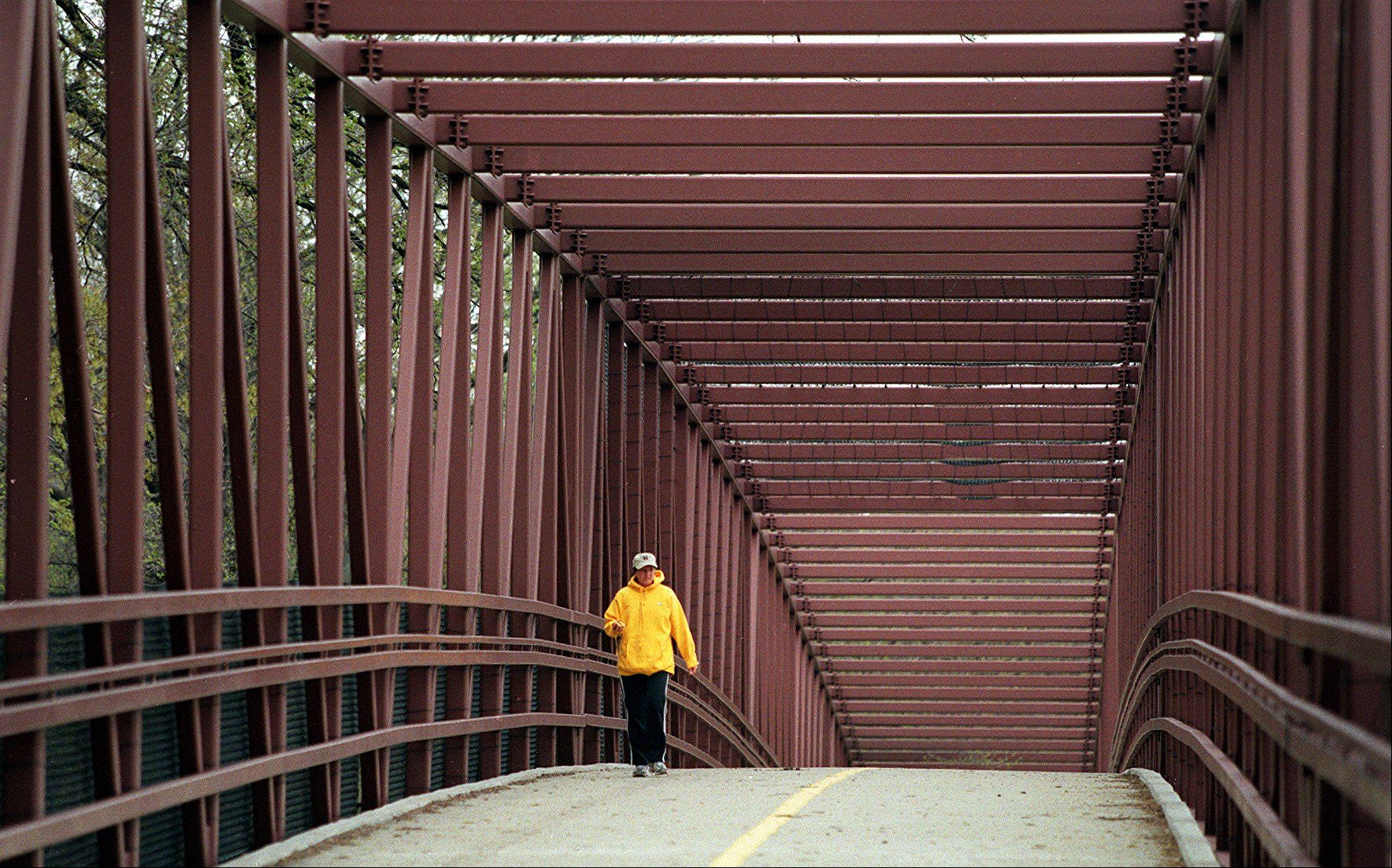 A pedestrian walks across the bridge over Higgins Road through Busse Woods just west of Arlington Heights Road. Construction starts July 8 on a bridge just east of Route 53 that will closely resemble this one.