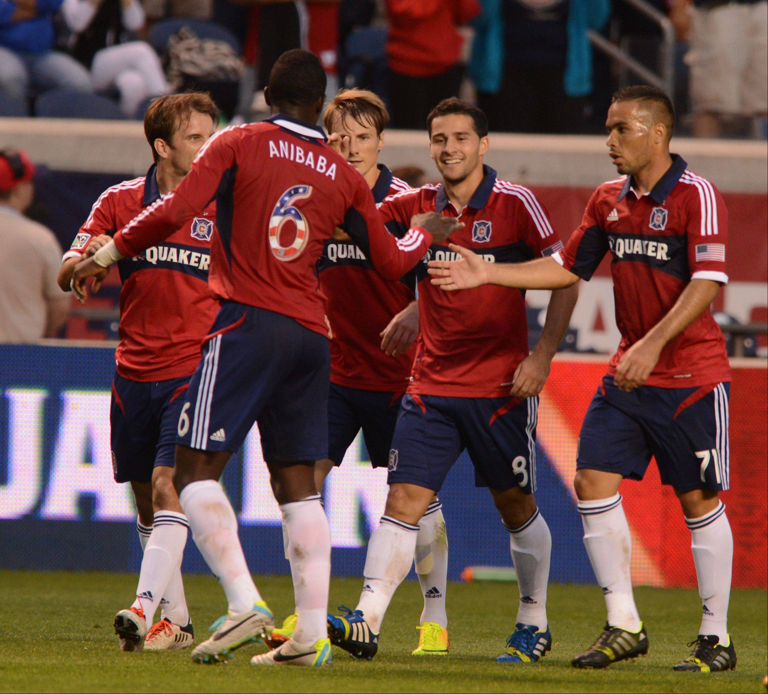 The Chicago Fire celebrate Dilly Duka�s first-half goal in Wednesday night�s 3-2 home victory over the San Jose Earthquakes.