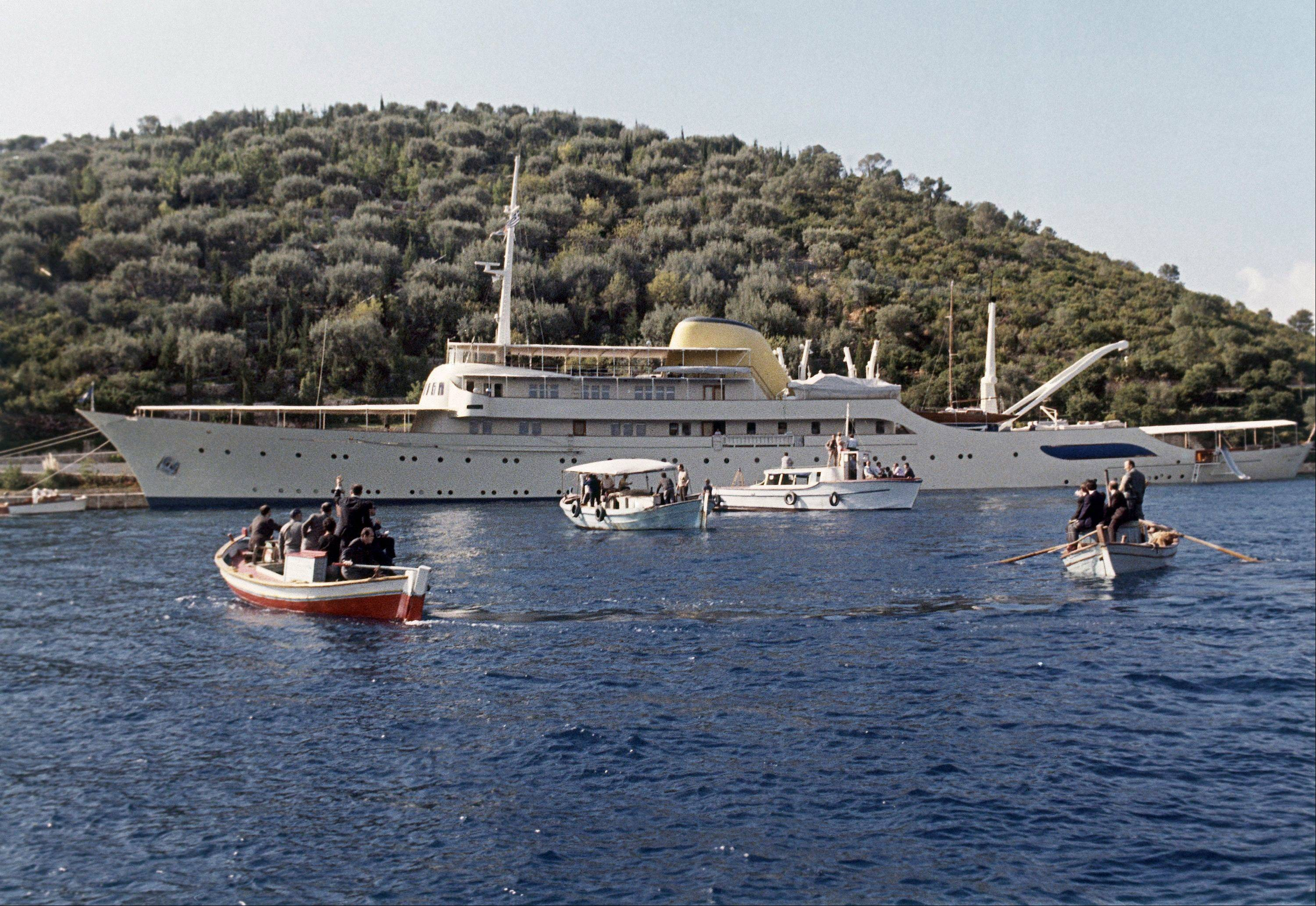 This is a 1963 file photo of Aristotle Onassis' yacht Christina at anchor in the Mediterranean. Onassis wed Jacqueline Kennedy aboard this yacht in a marriage ceremony October 1968.