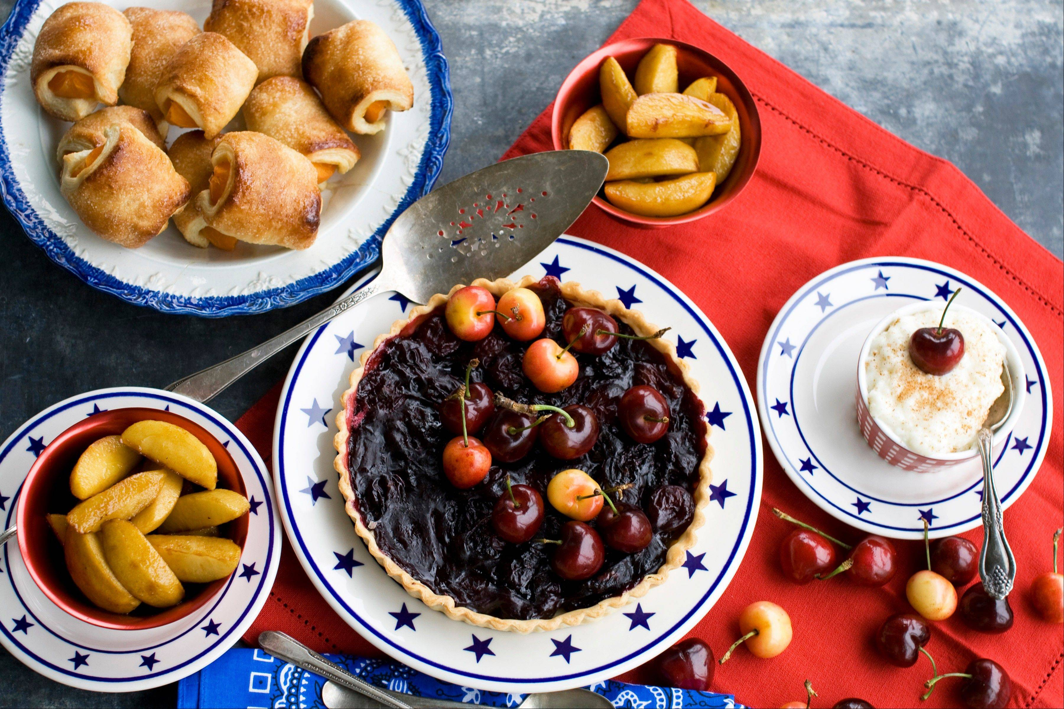 Cherry pie, clockwise from top right, blaized pippins (apples), apricot puffs and custard are foods the country's Founding Fathers might have eaten on July Fourth.