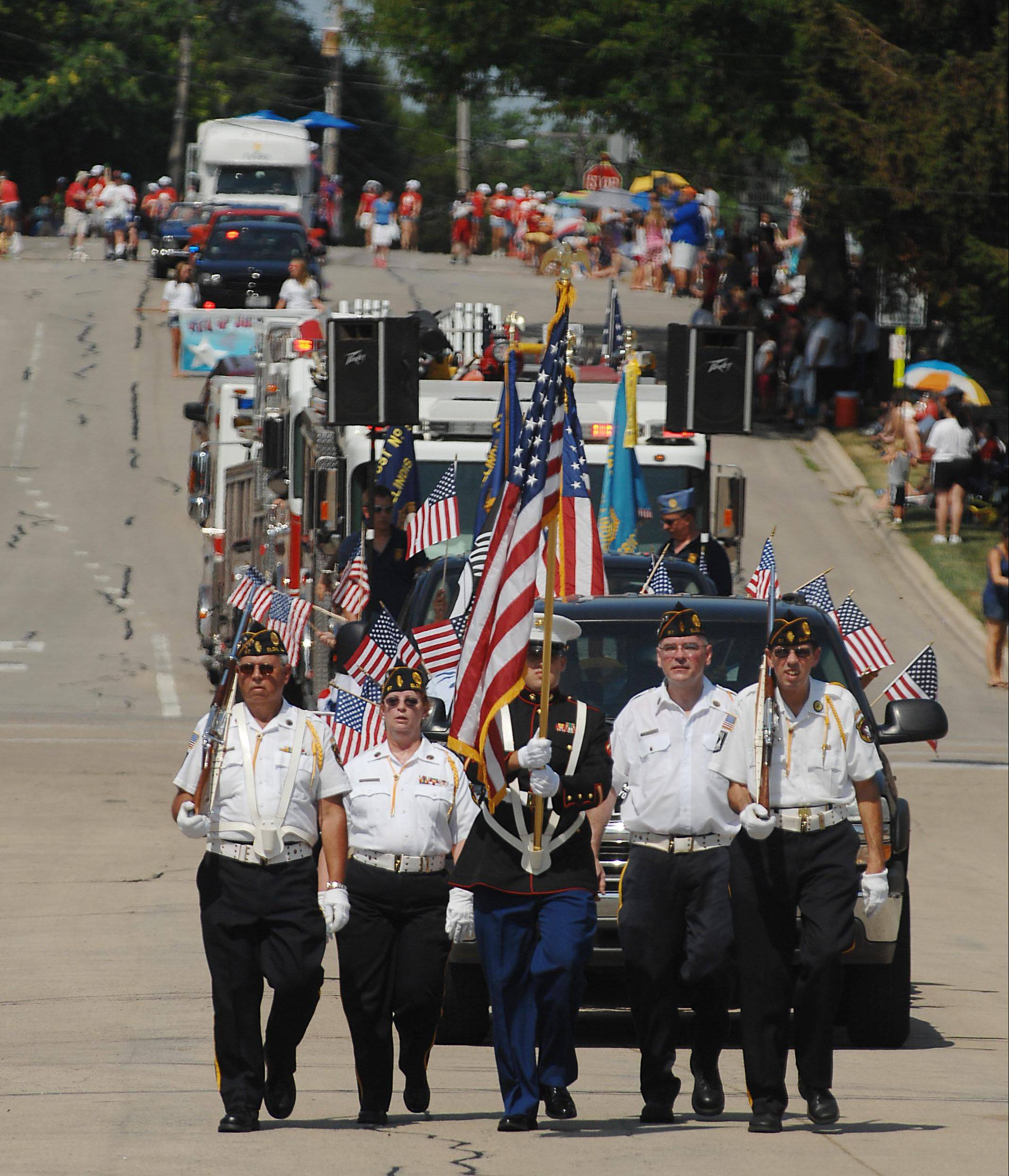 American Legion Post 57 carries the colors proudly in South Elgin's Fourth of July parade.