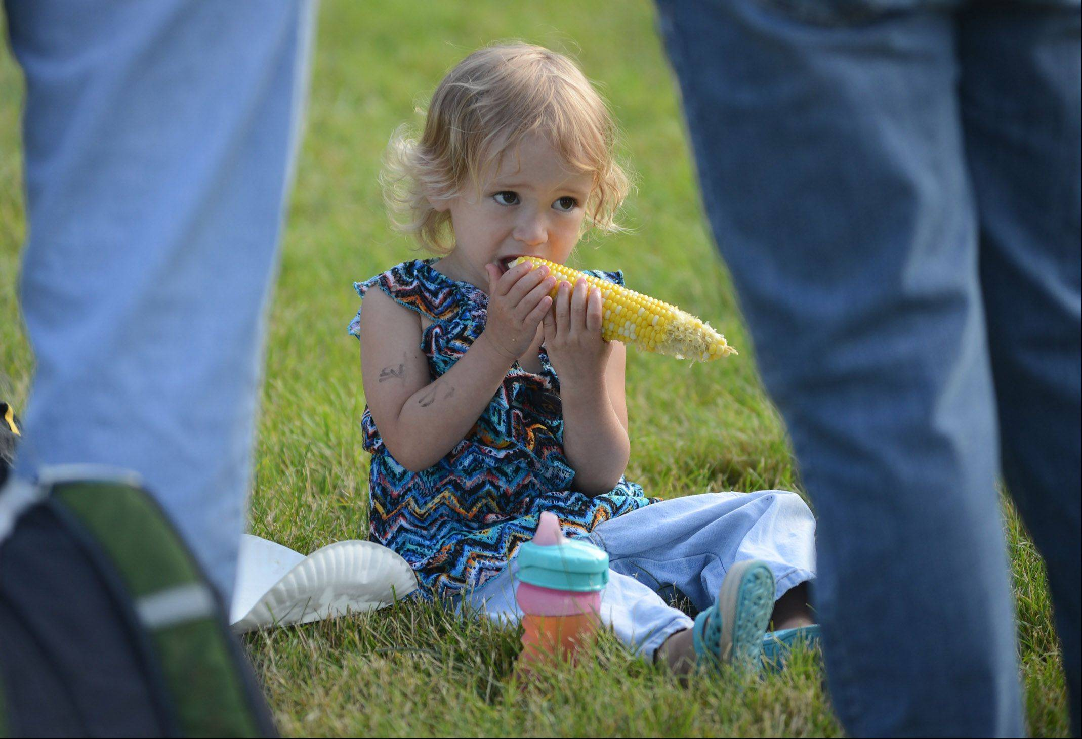 Alison Catania, 2 of Mundelein, found a nice piece of grass to enjoy and ear of corn Wednesday night at the Mundelein Community Days festival.