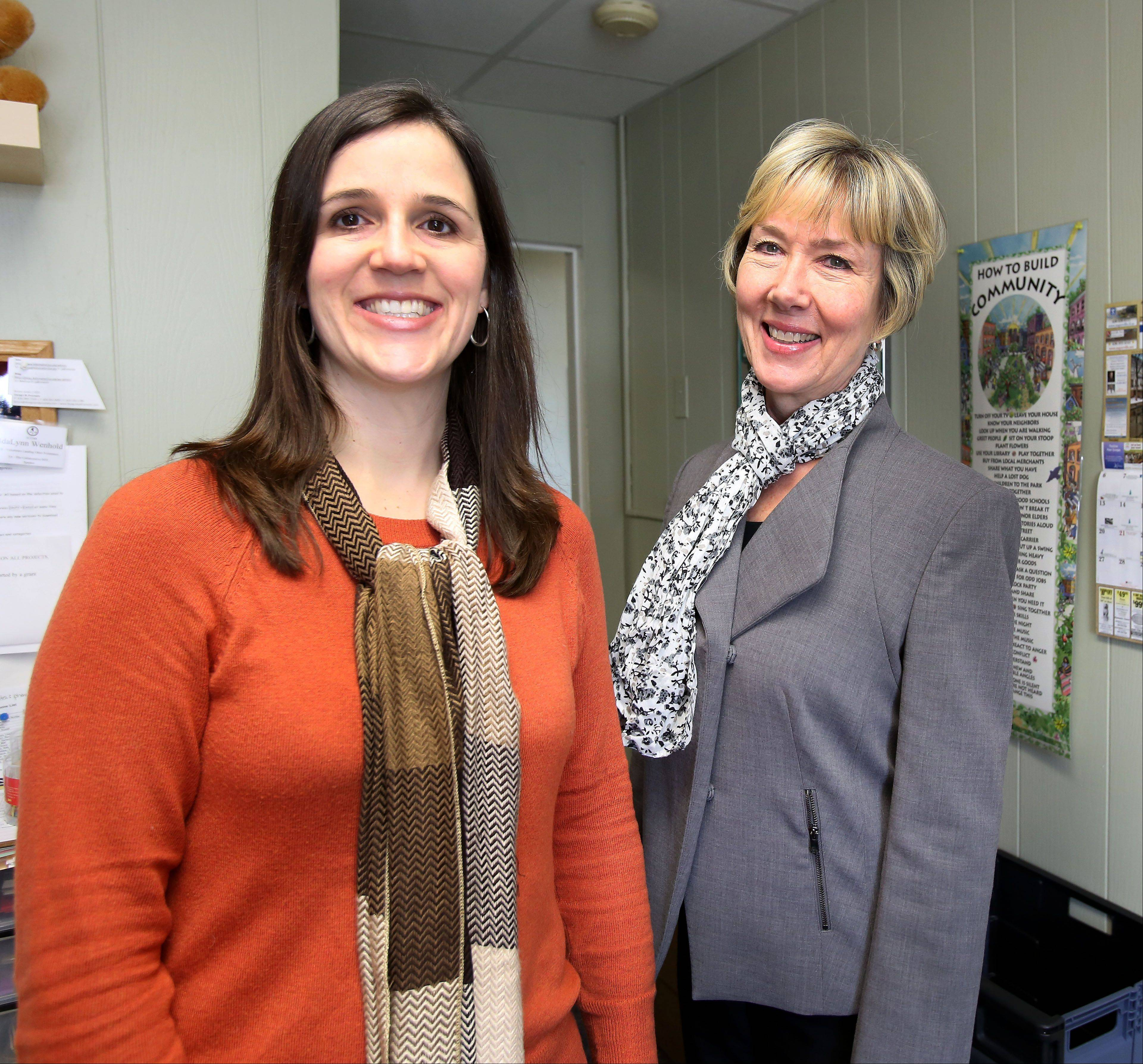 Marion Ruthig, left, founder of I Support Community with IdaLynn Wenhold, executive director of KidsMatter in Naperville, one of the charities featured on the I Support Community website.