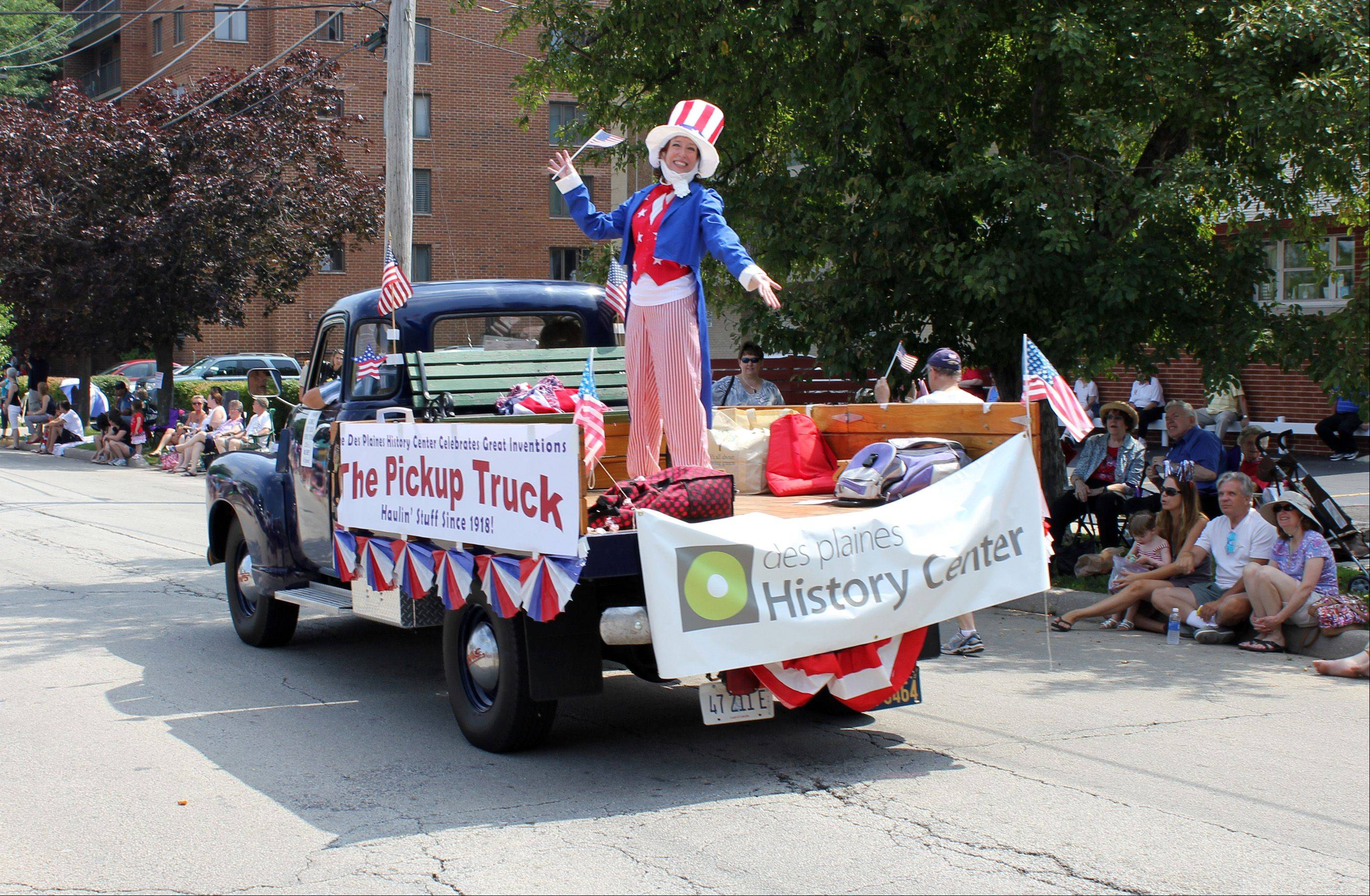"Picture submitted by Karen Kozenczak, City of Des Plaines Media Services DivisionElizabeth Makelim, Des Plaines Historical Society, performs as ""Uncle Sam"" on the Des Plaines Historical float in the July Fourth Parade."