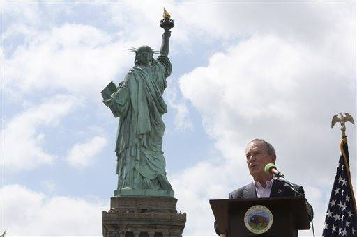 New York City Mayor Michael Bloomberg speaks during the reopening ceremony of the Statue of Liberty, Thursday.