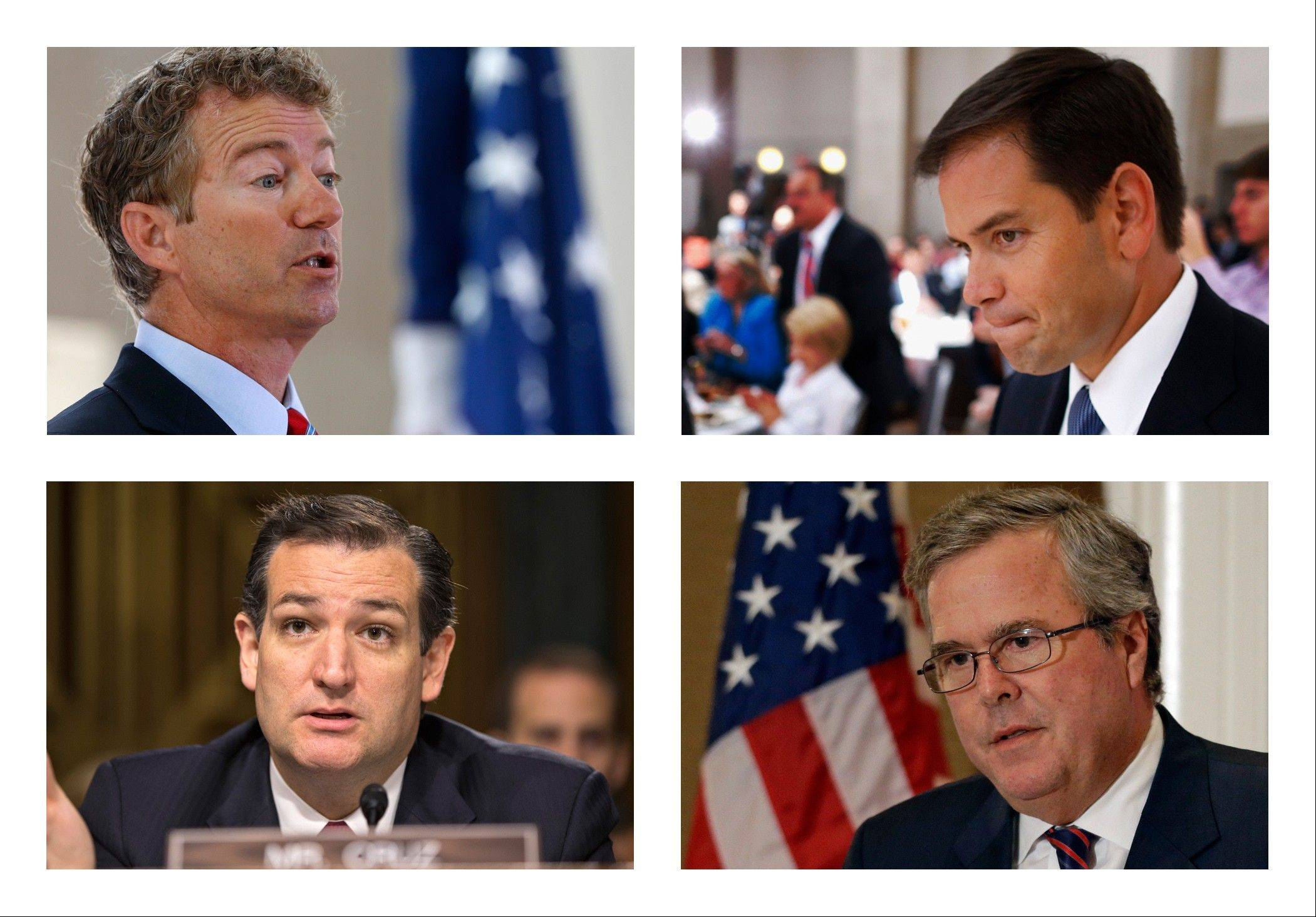 This combination of 2013 file photos shows, from left, top row, Sen. Rand Paul, R-Ky. and Sen. Marco Rubio, R-Fla. and bottom row, Sen. Ted Cruz, R-Texas and former Florida Gov. Jeb Bush. Pivotal developments on two cultural issues - immigration reform and gay marriage - offer an early preview of potential fault lines among Republicans weighing White House bids in 2016.