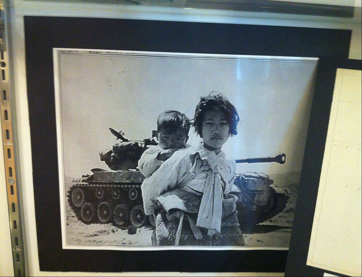Photos on display at the Korean War exhibit at the Skokie Heritage Museum.