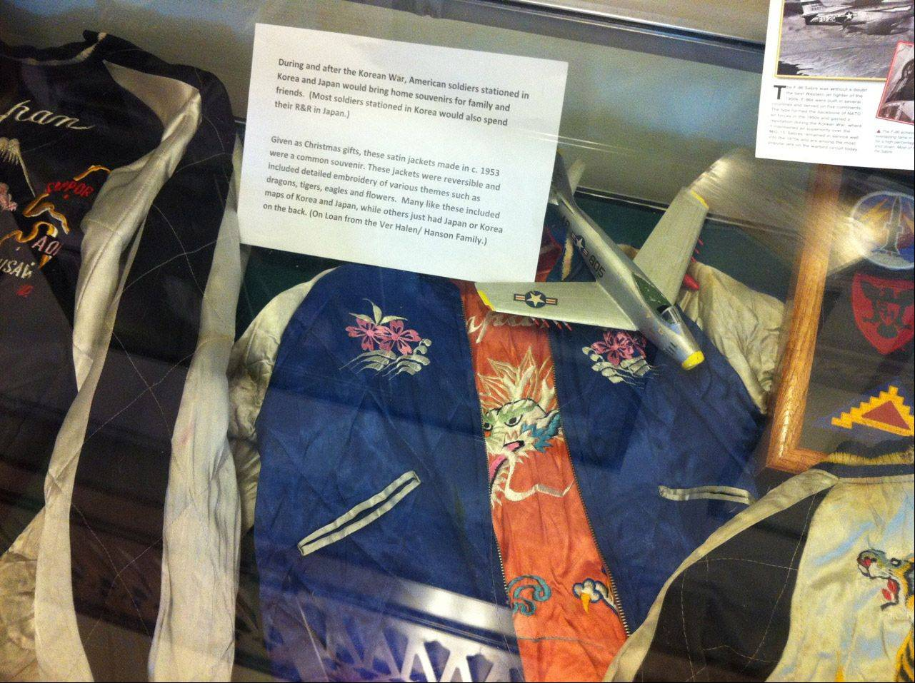 Satin jackets on display at the Korean War exhibit at the Skokie Heritage Museum.