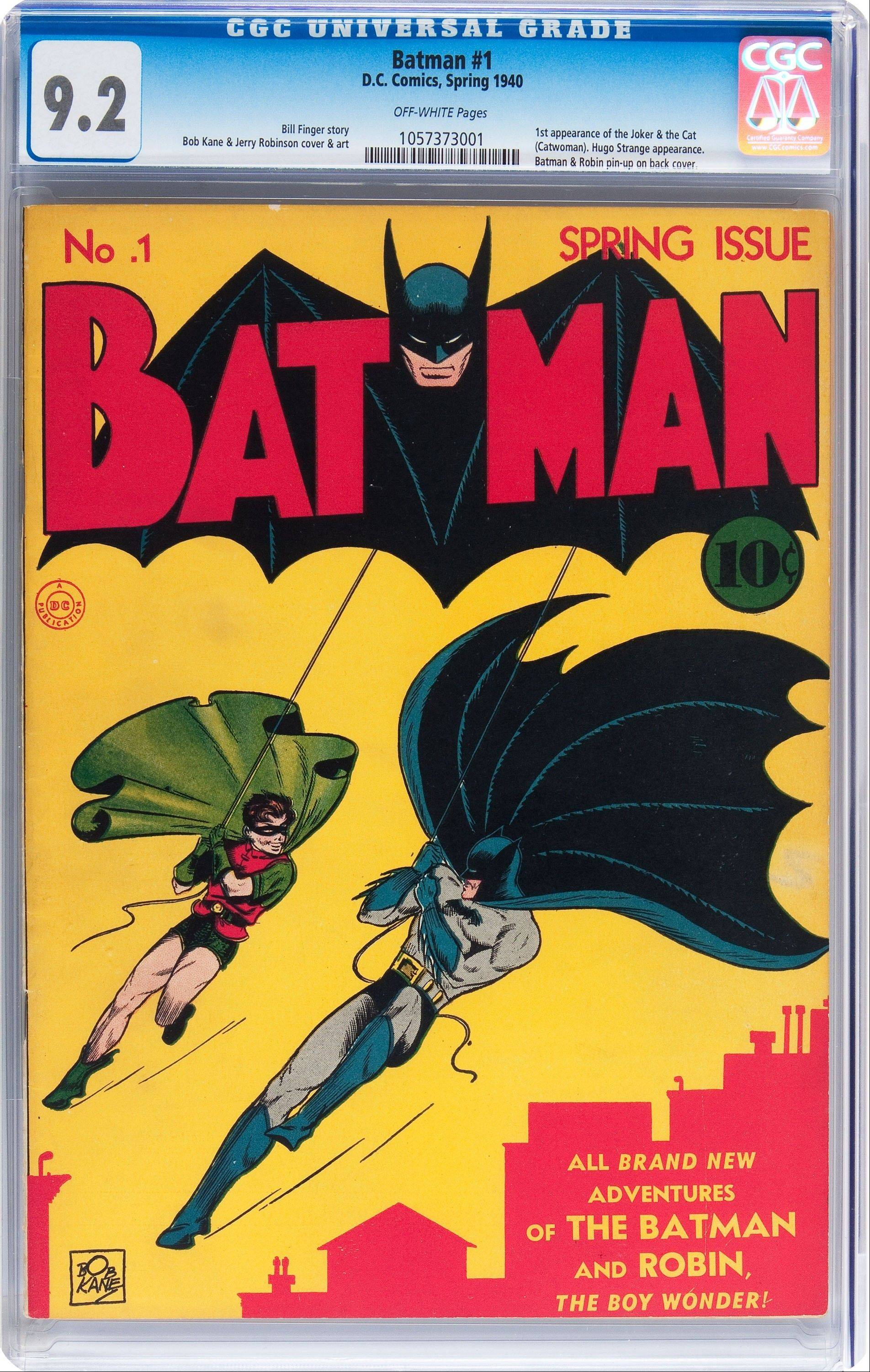 "This ""Batman"" No. 1 from 1940, depicting Batman and Robin swinging in front of a Gotham city skyline is planned to go on auction in August 2013. A similar copy sold for $850,000 in 2012."
